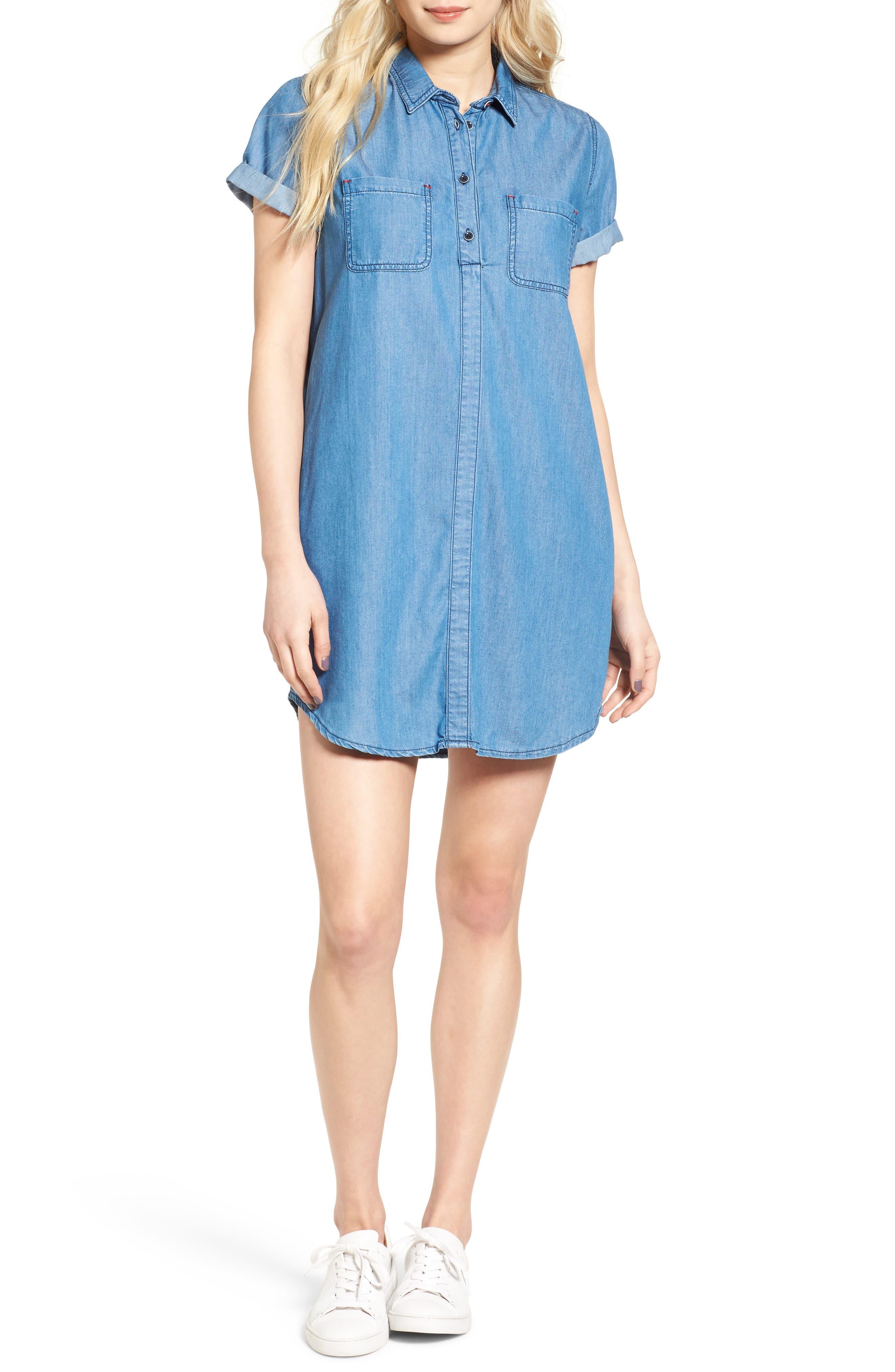 Fins Chambray Shirtdress,                         Main,                         color, 450
