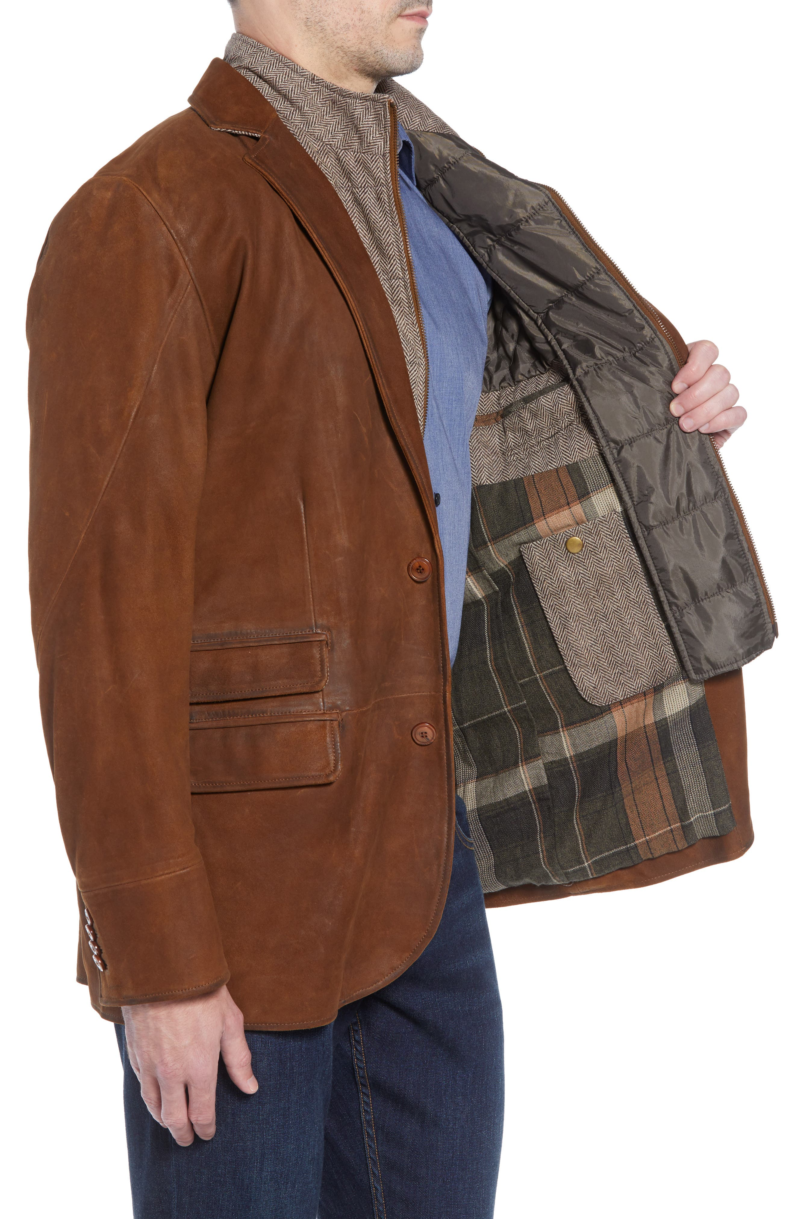 Classic Fit Distressed Leather Hybrid Coat,                             Alternate thumbnail 4, color,                             BROWN