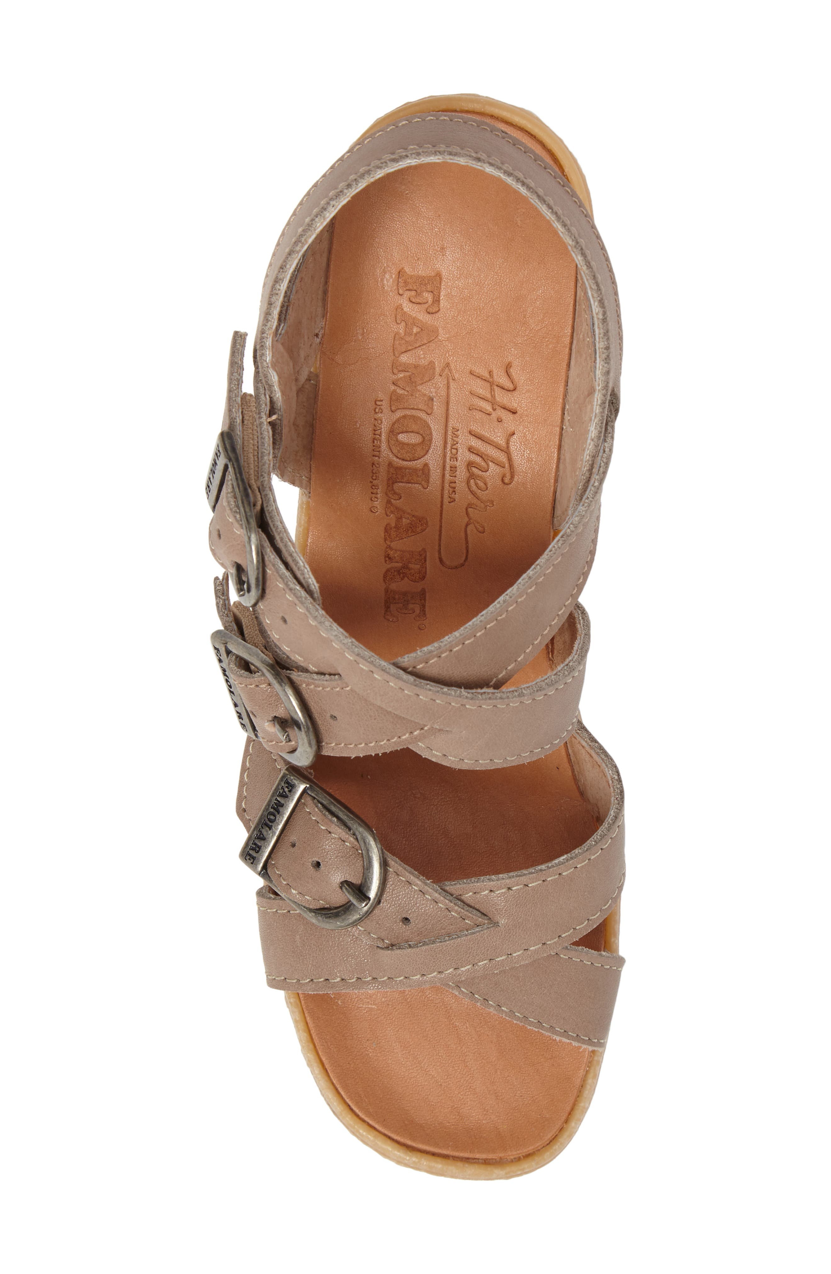 Buckle Up Wedge Sandal,                             Alternate thumbnail 5, color,                             SAND LEATHER