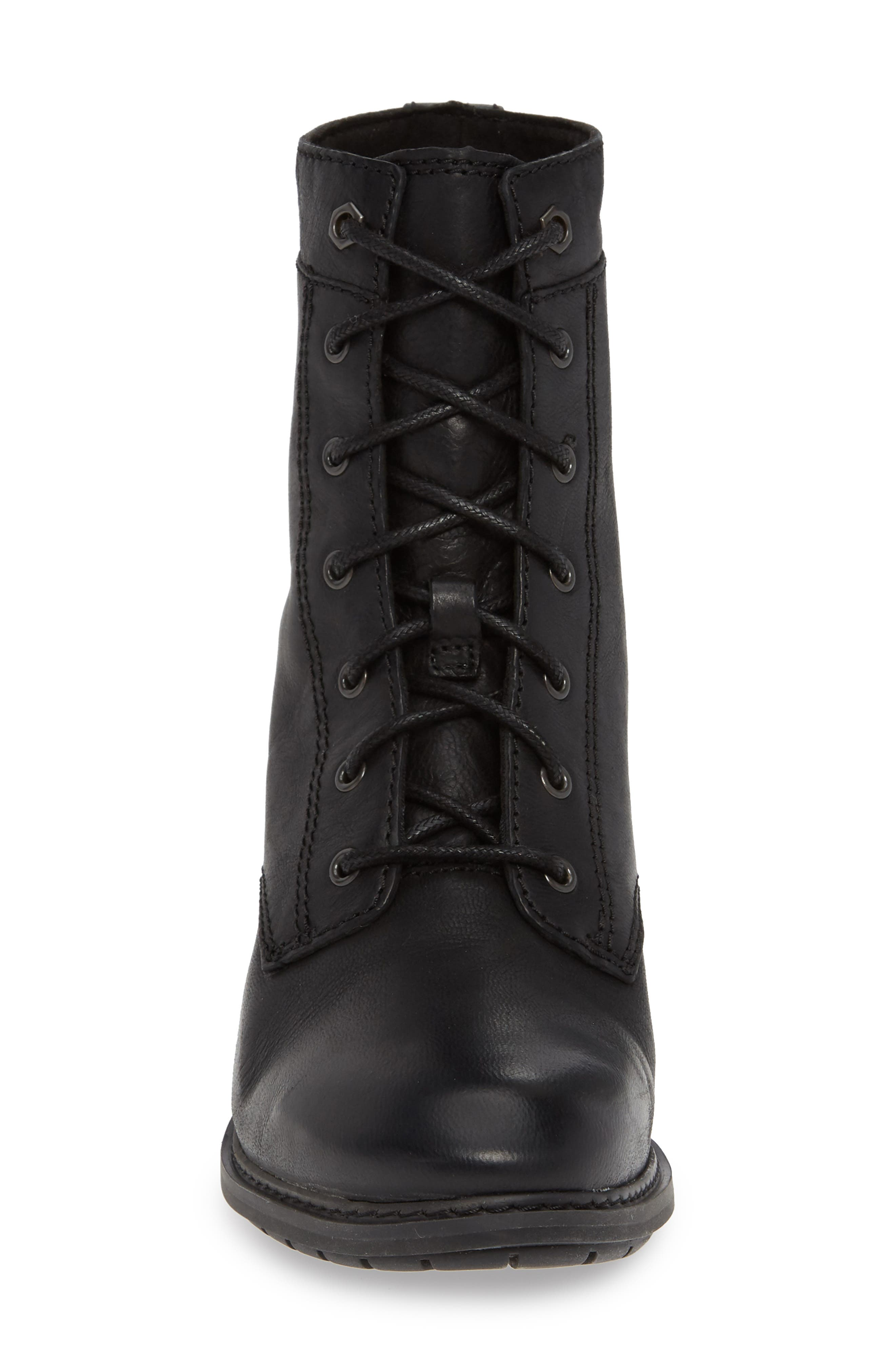 Sutherlin Bay Water Resistant Lace-Up Bootie,                             Alternate thumbnail 4, color,                             JET BLACK LEATHER