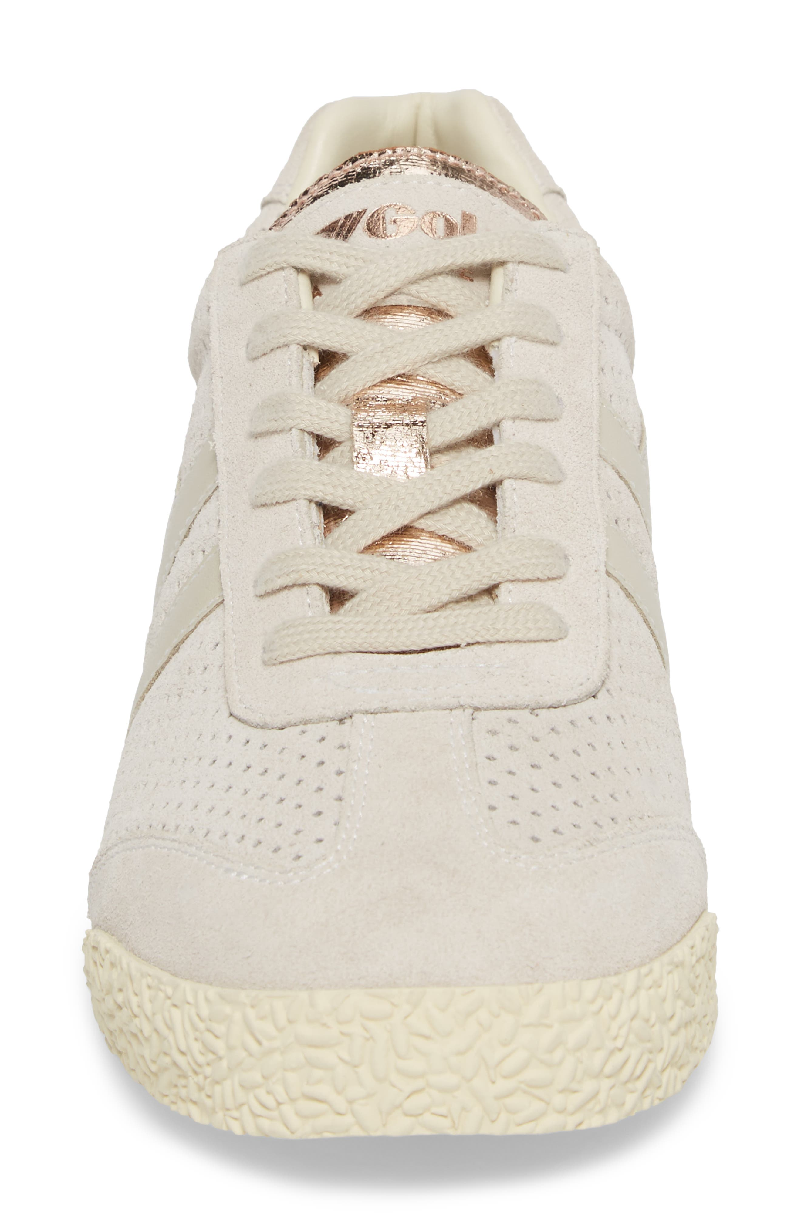 Harrier Glimmer Suede Low Top Sneaker,                             Alternate thumbnail 4, color,                             WINDCHIME/ GOLD/ OFF WHITE