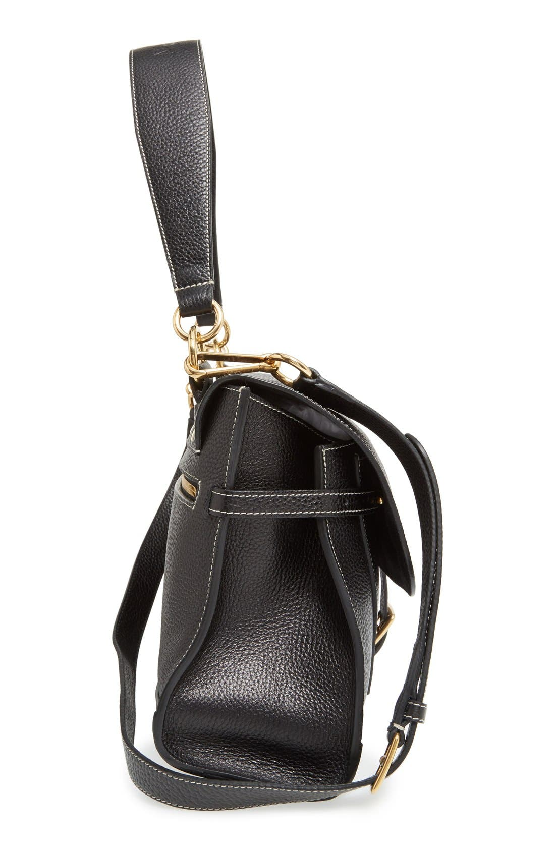 'Small Buckle' Leather Shoulder Bag,                             Alternate thumbnail 5, color,                             001