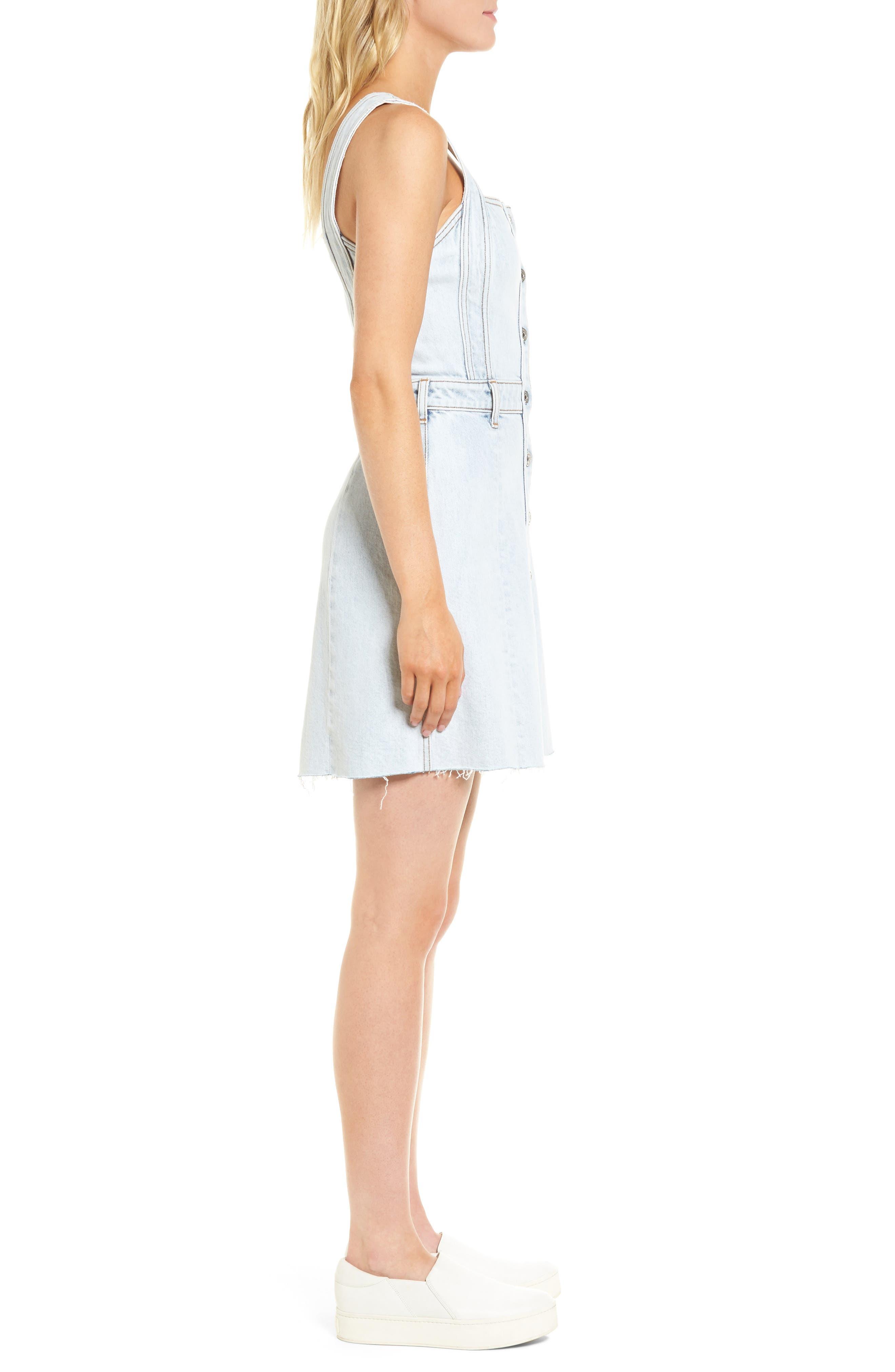 Denim Pinafore Dress,                             Alternate thumbnail 3, color,                             402