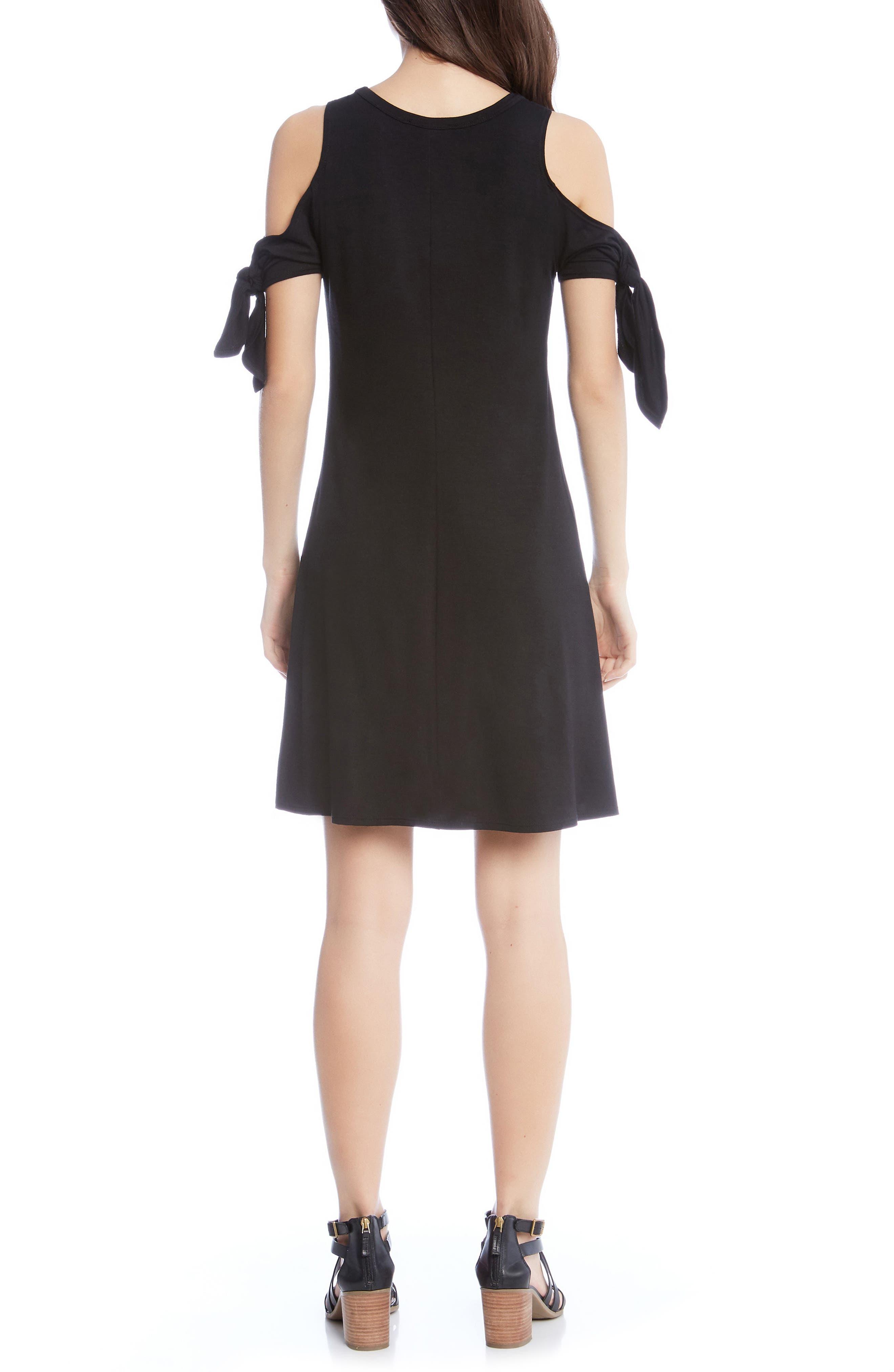 Knotted Cold Shoulder A-Line Dress,                             Alternate thumbnail 2, color,                             001