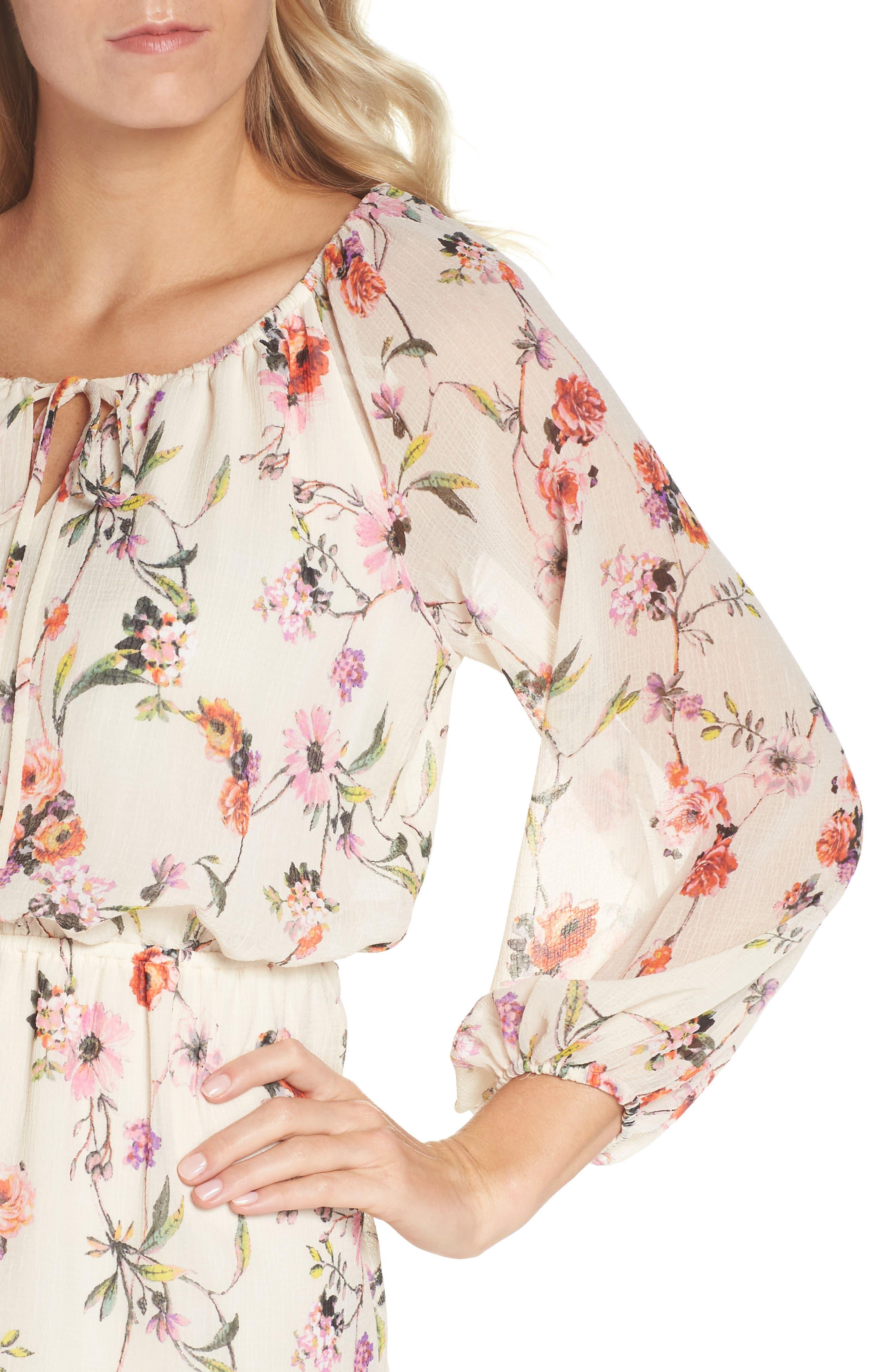 Bonita Oasis Floral Dress,                             Alternate thumbnail 4, color,                             IVORY MULTI