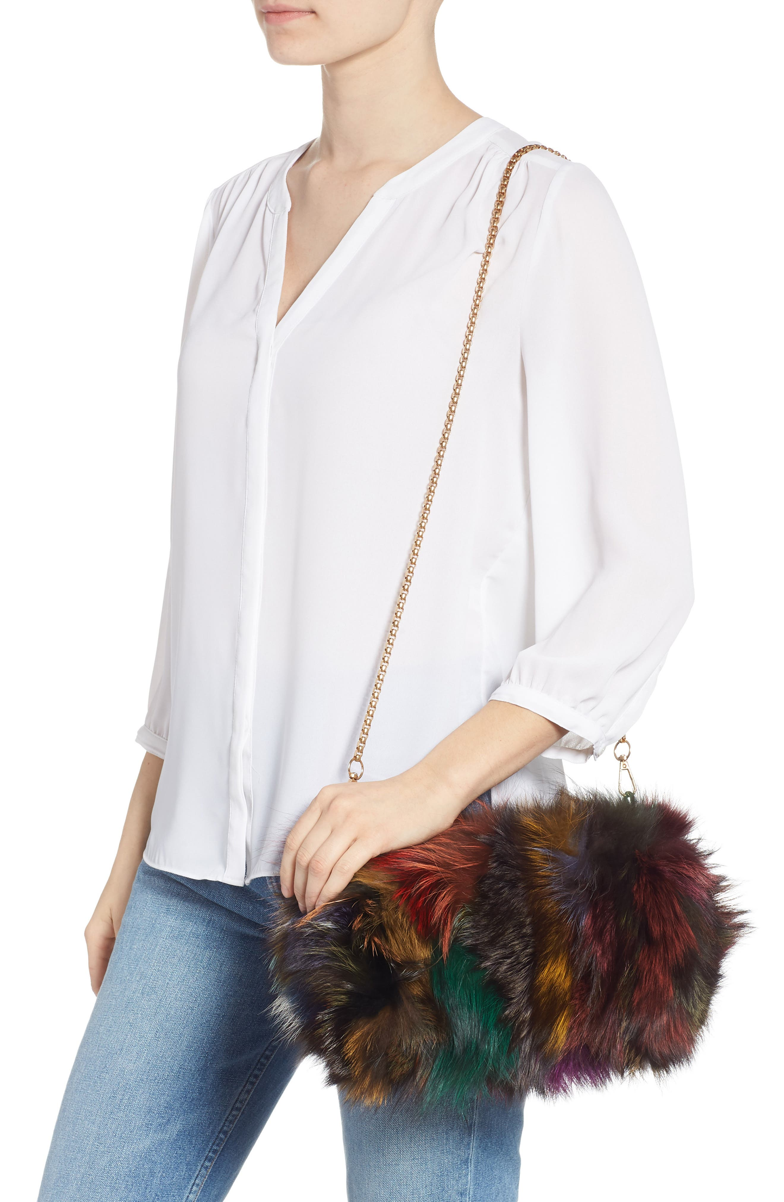 Elmo Genuine Silver Fox Fur Shoulder Bag,                             Alternate thumbnail 2, color,                             BLUE MULTI