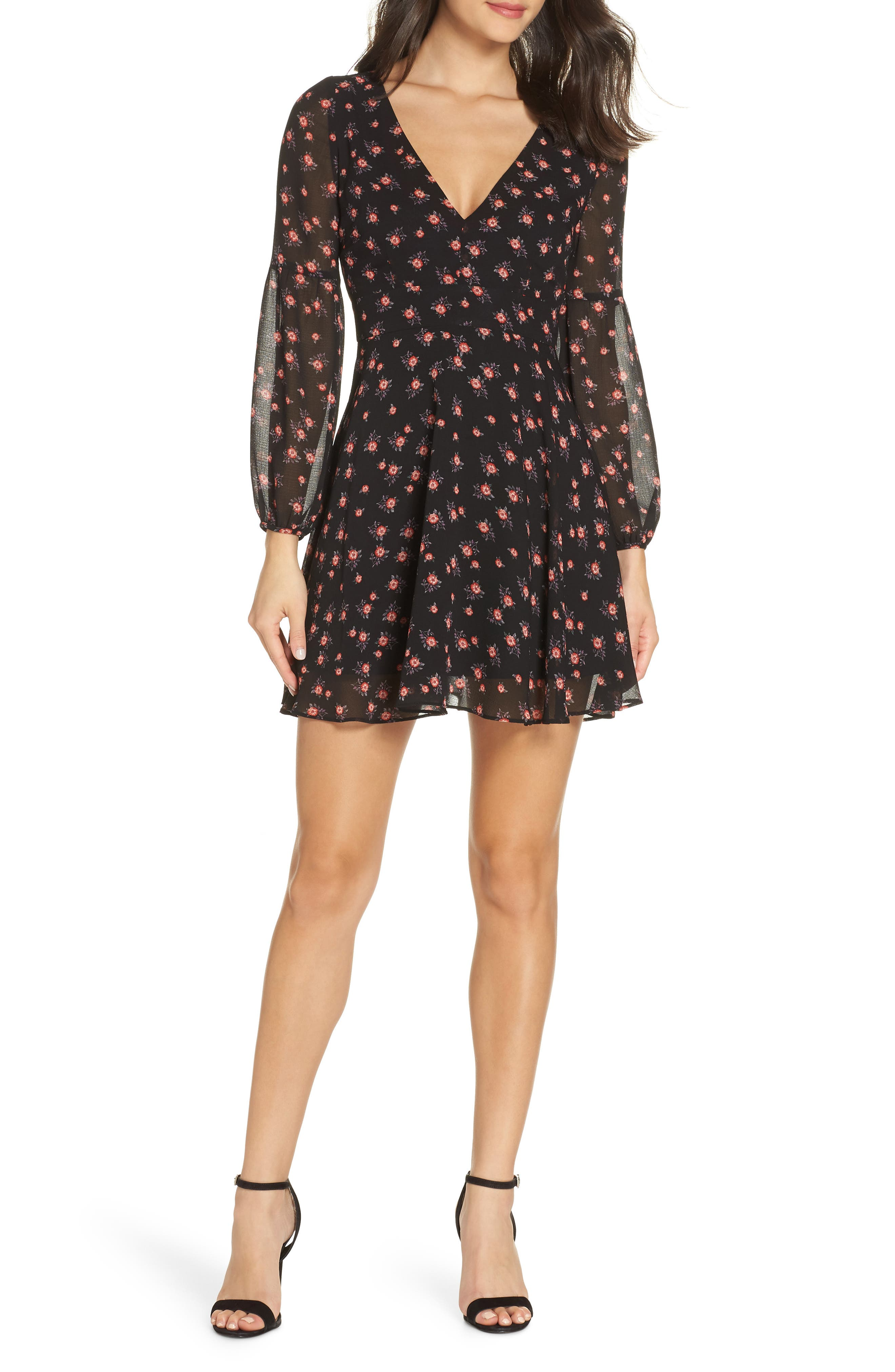 BB DAKOTA Love In The Afternoon Floral Print Dress in Black