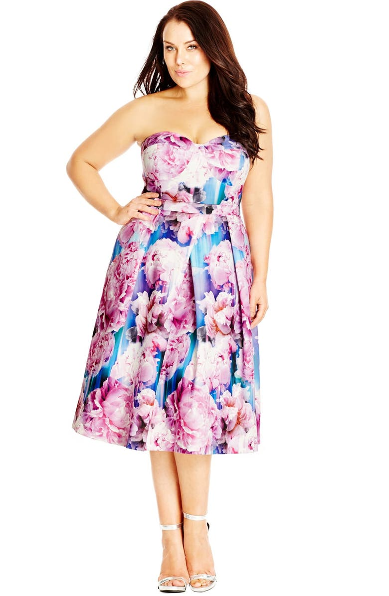 b8233198ee7b4 City Chic  Rainbow Rose  Floral Print Strapless Fit   Flare Dress ...