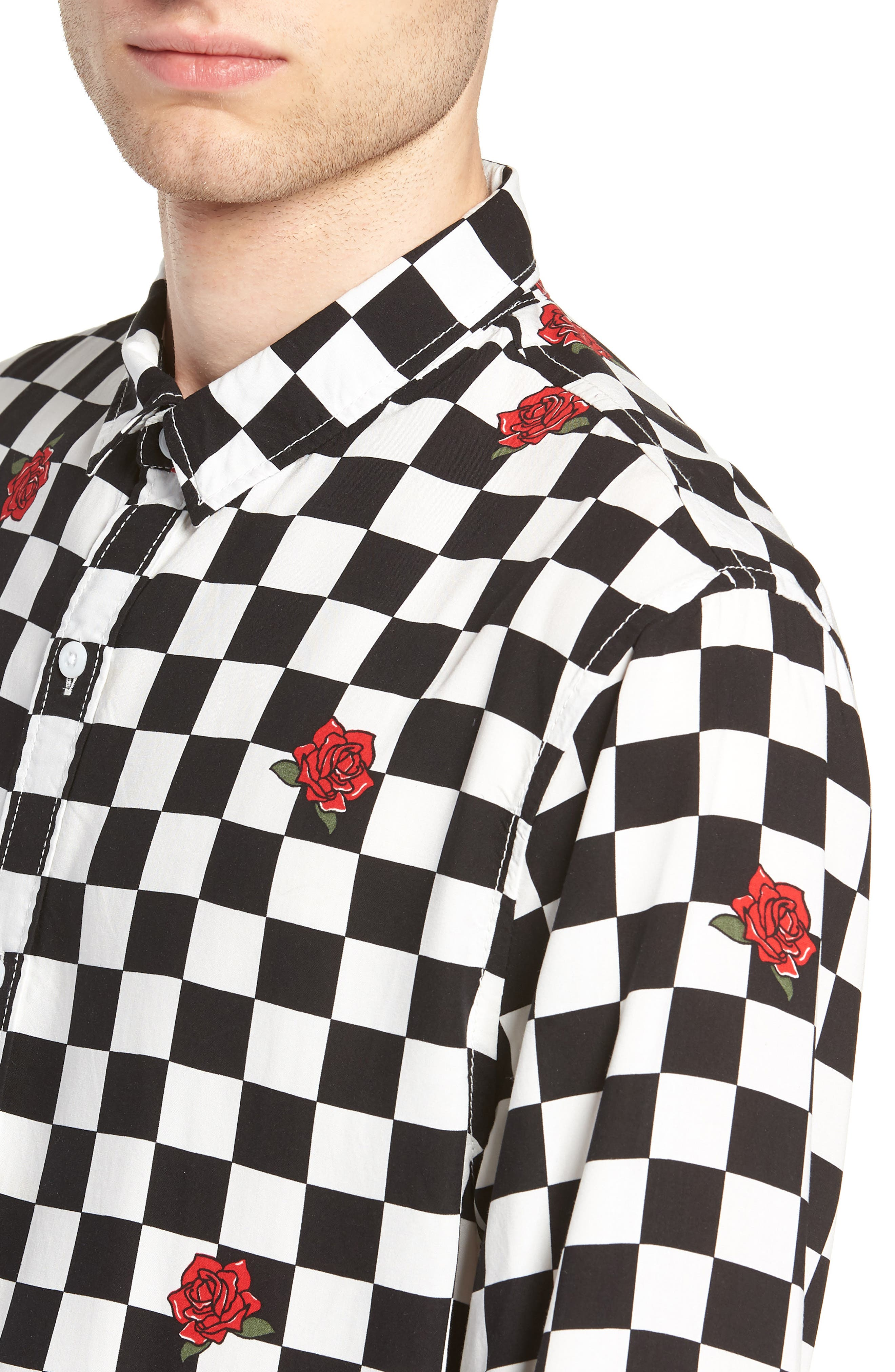 Checkerboard Rose Print Woven Shirt,                             Alternate thumbnail 4, color,                             001