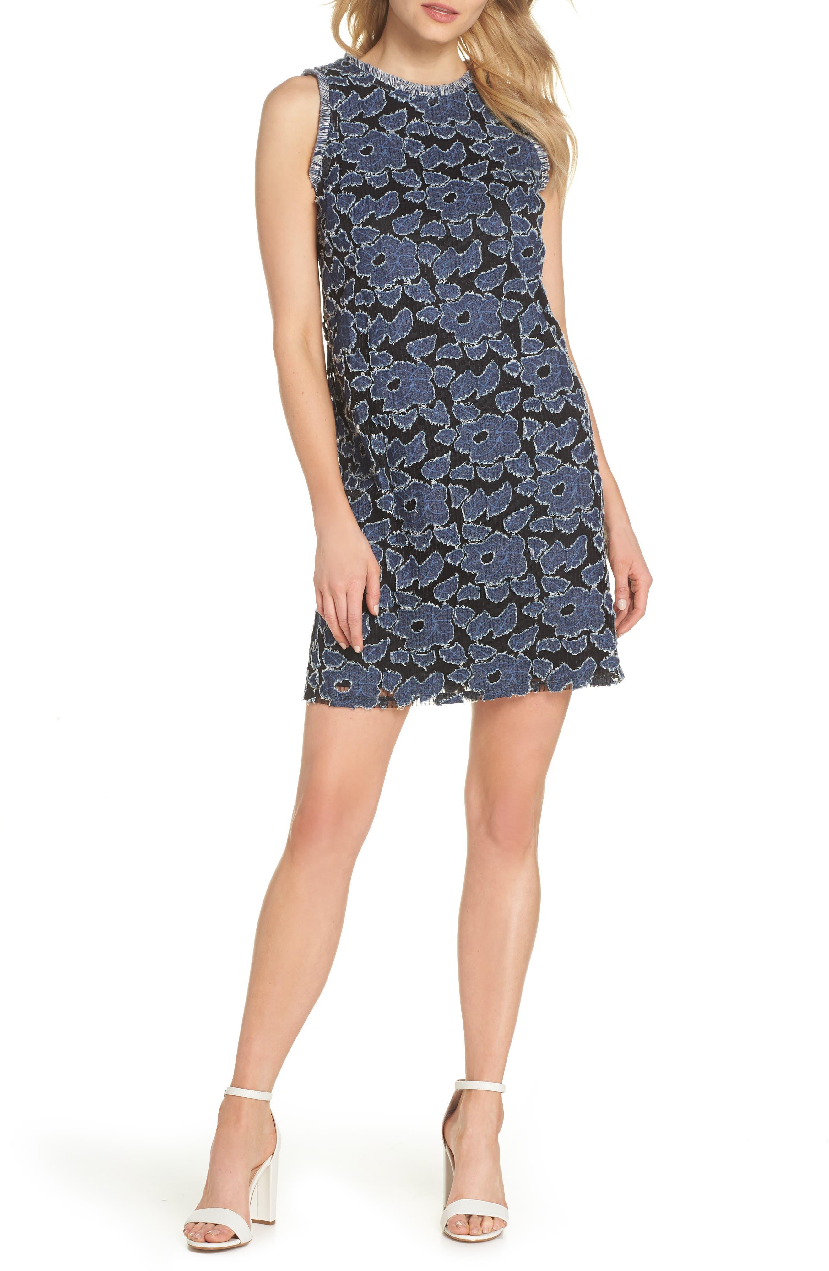 Burnout Denim Shift Dress,                         Main,                         color, DENIM/ BLUE