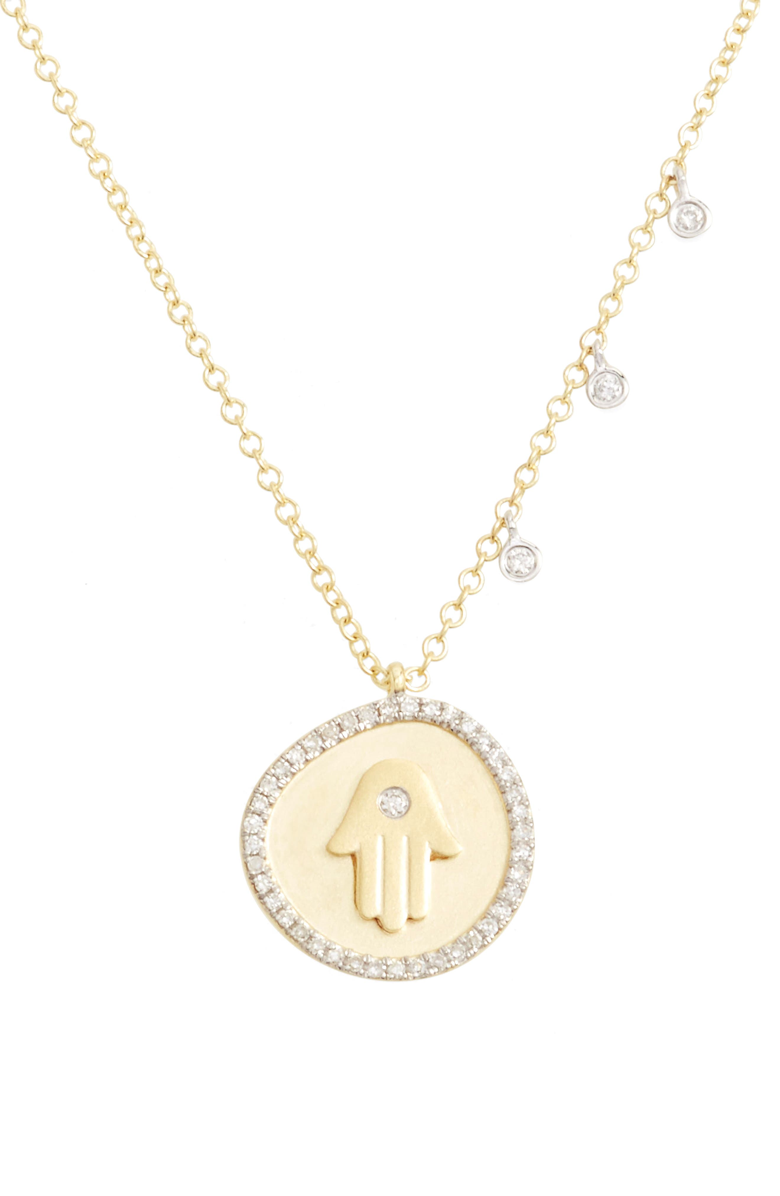 Diamond Hamsa Pendant Necklace,                         Main,                         color, 713