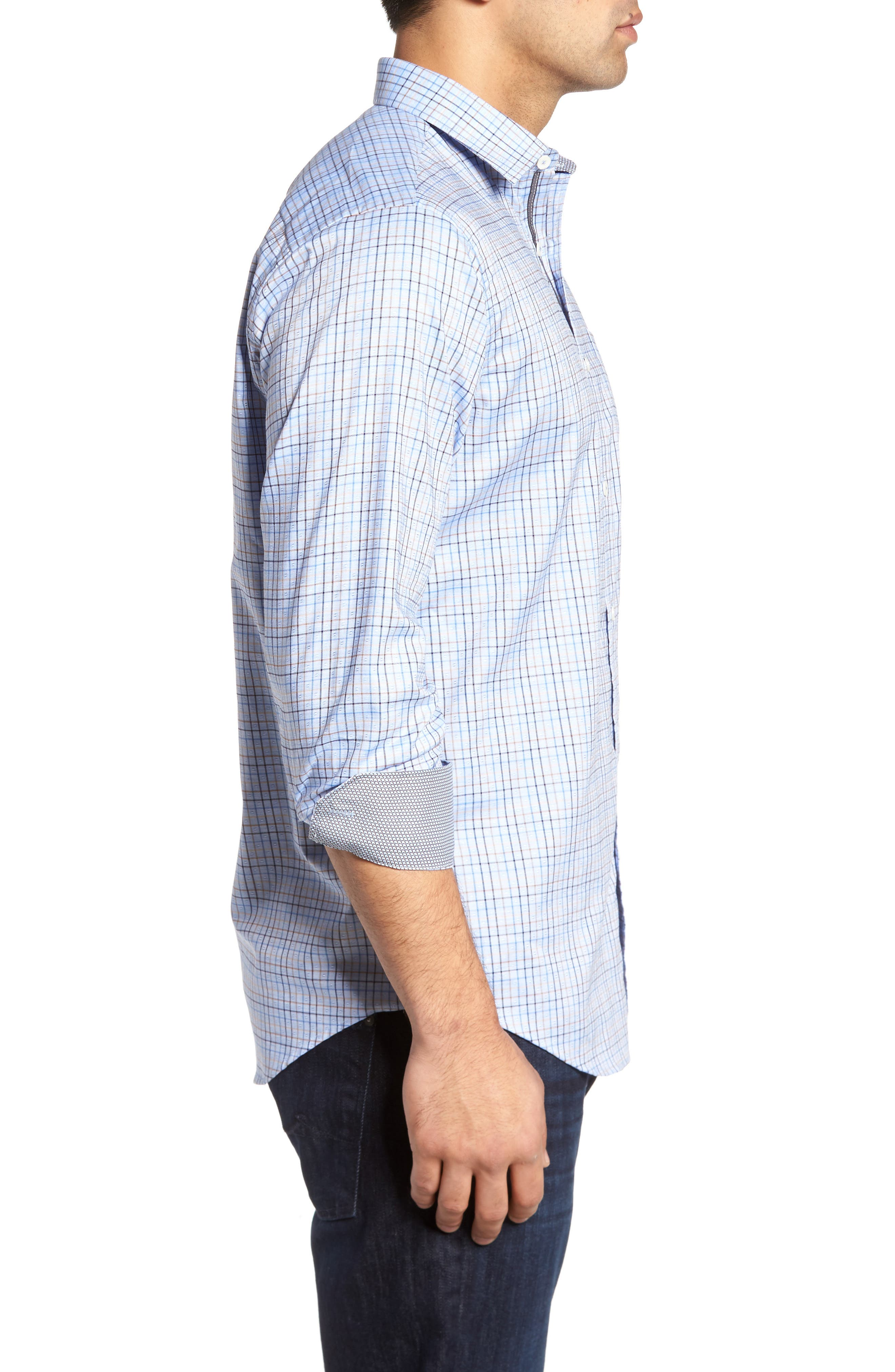 Classic Fit Dobby Grid Plaid Sport Shirt,                             Alternate thumbnail 3, color,