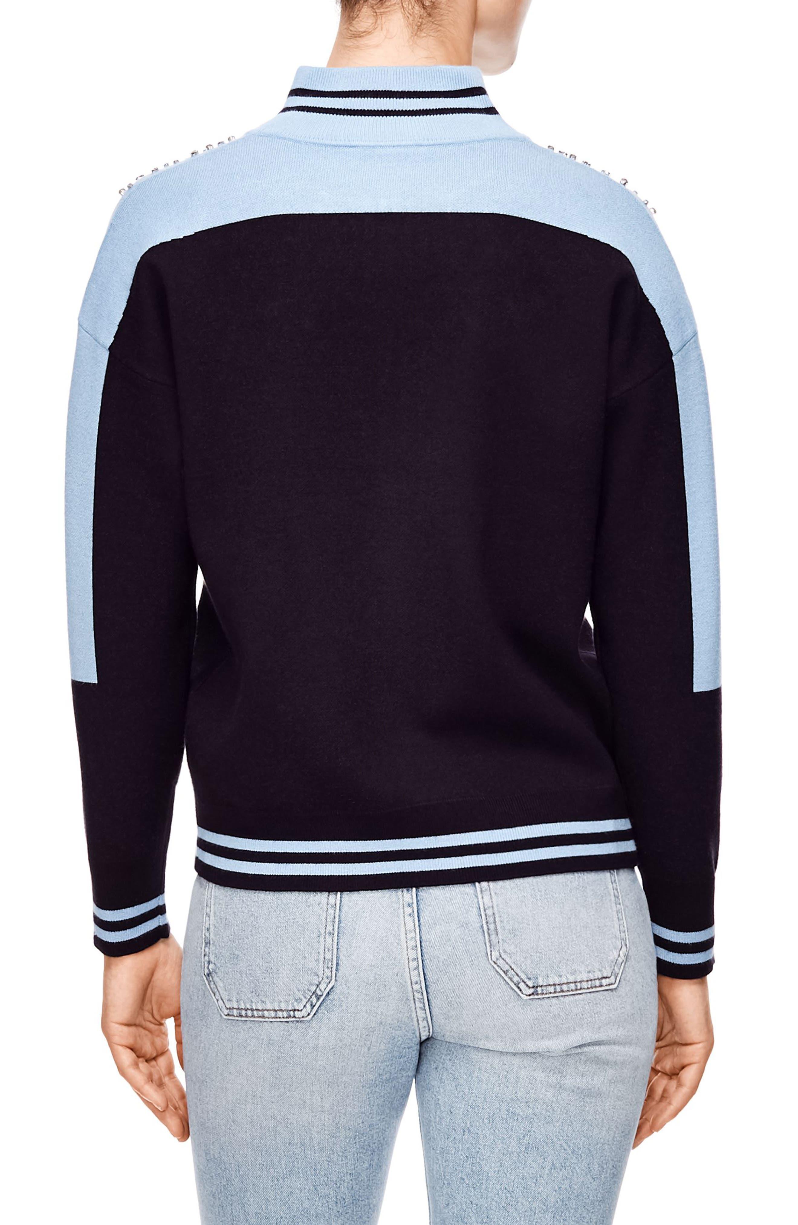 Embellished Sweater Jacket,                             Alternate thumbnail 2, color,                             SKY BLUE