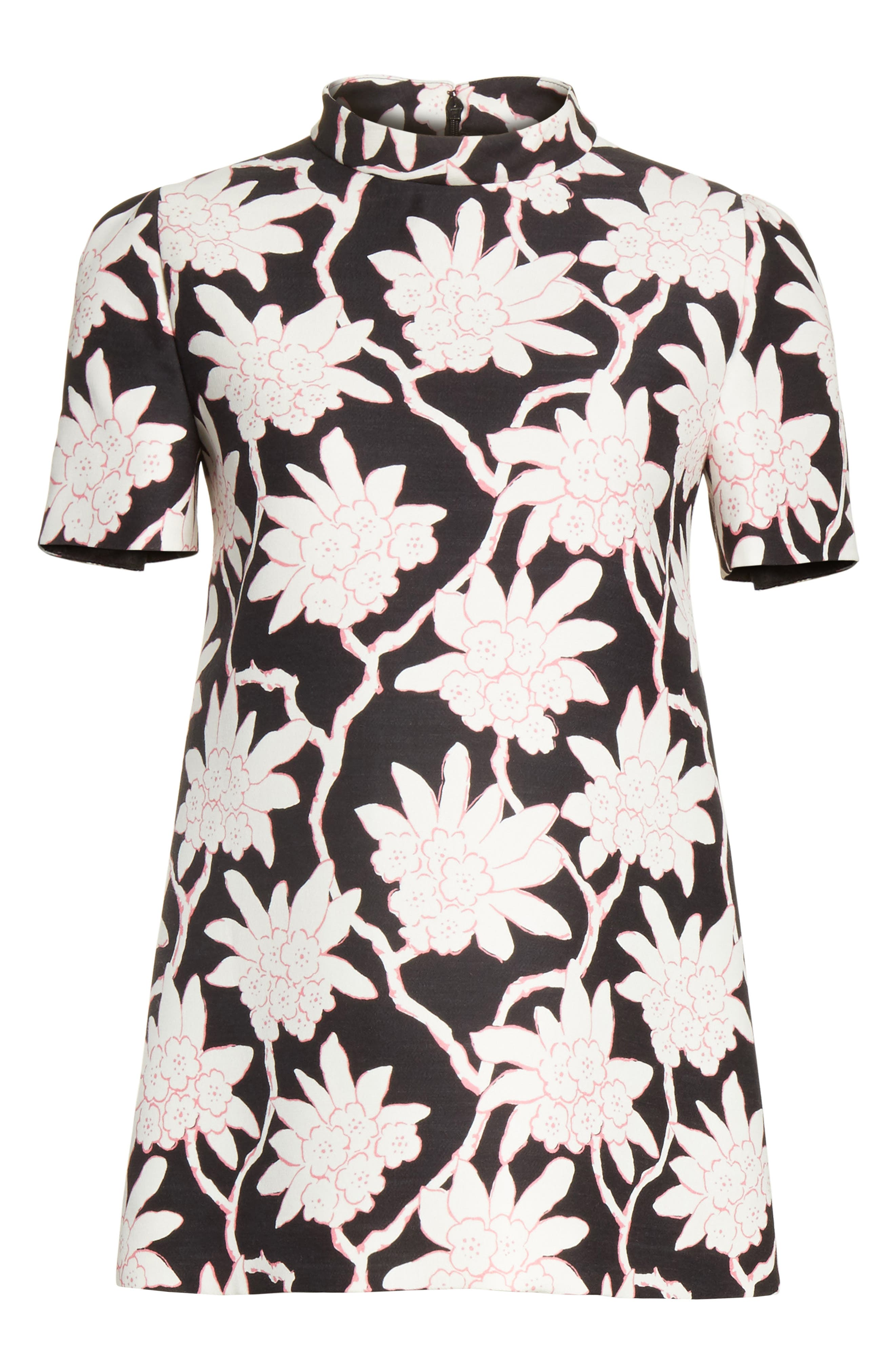 Rhododendron Print Wool & Silk Top,                             Alternate thumbnail 6, color,                             001