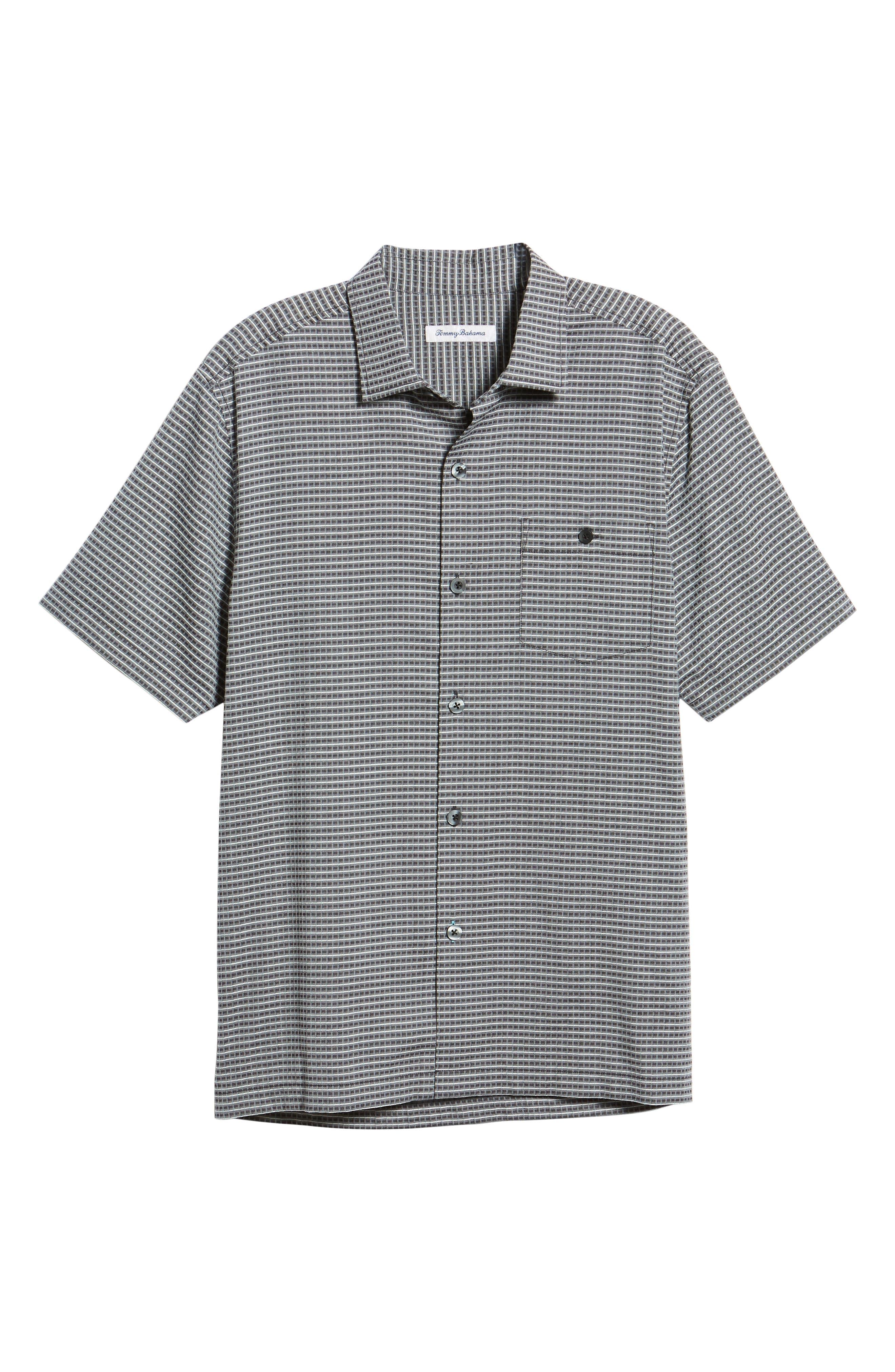 Check-in-the-Tropics Silk Blend Camp Shirt,                             Alternate thumbnail 5, color,                             BLACK
