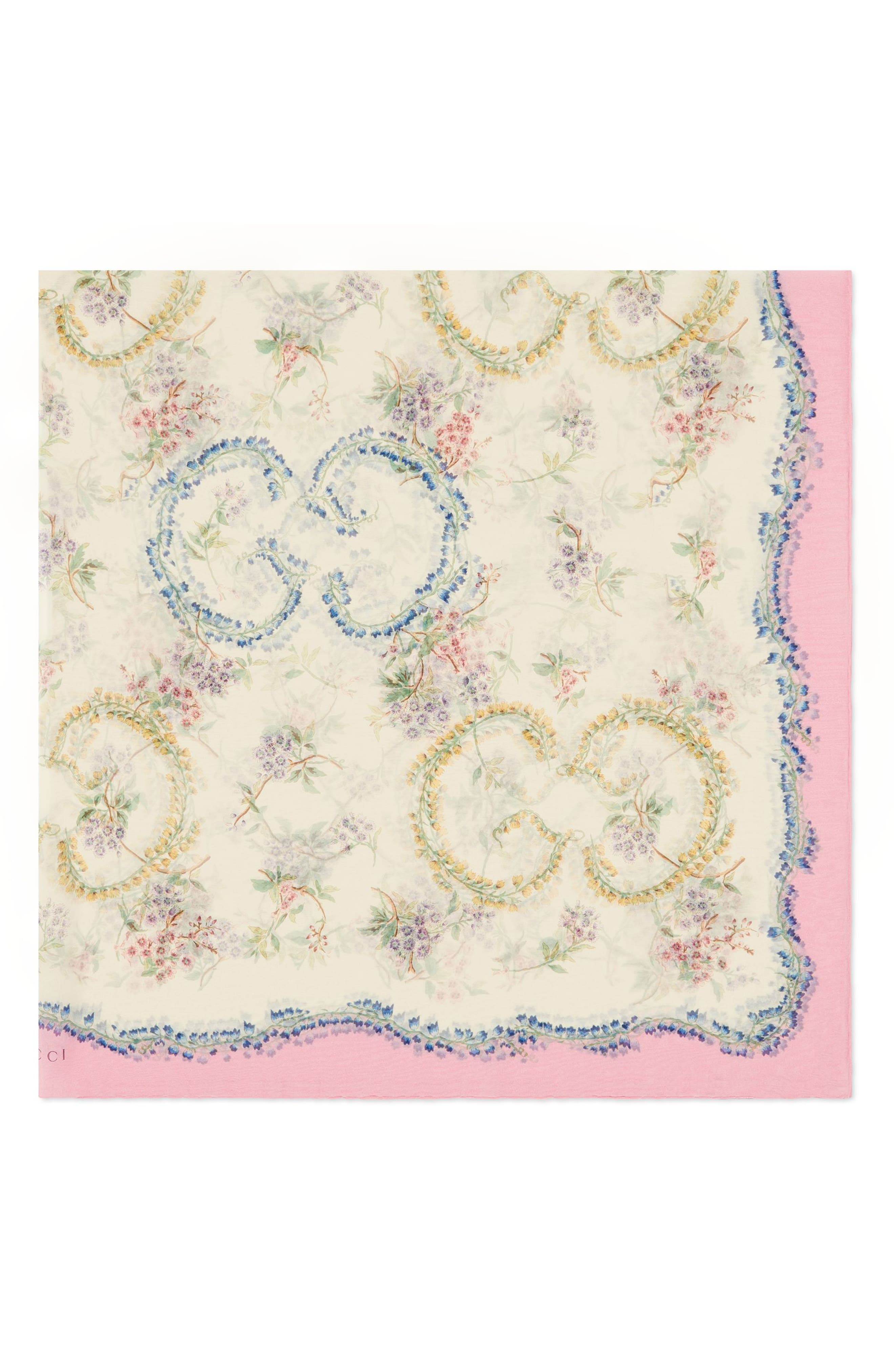 Provence Silk Shawl,                             Alternate thumbnail 2, color,                             IVORY/ PINK