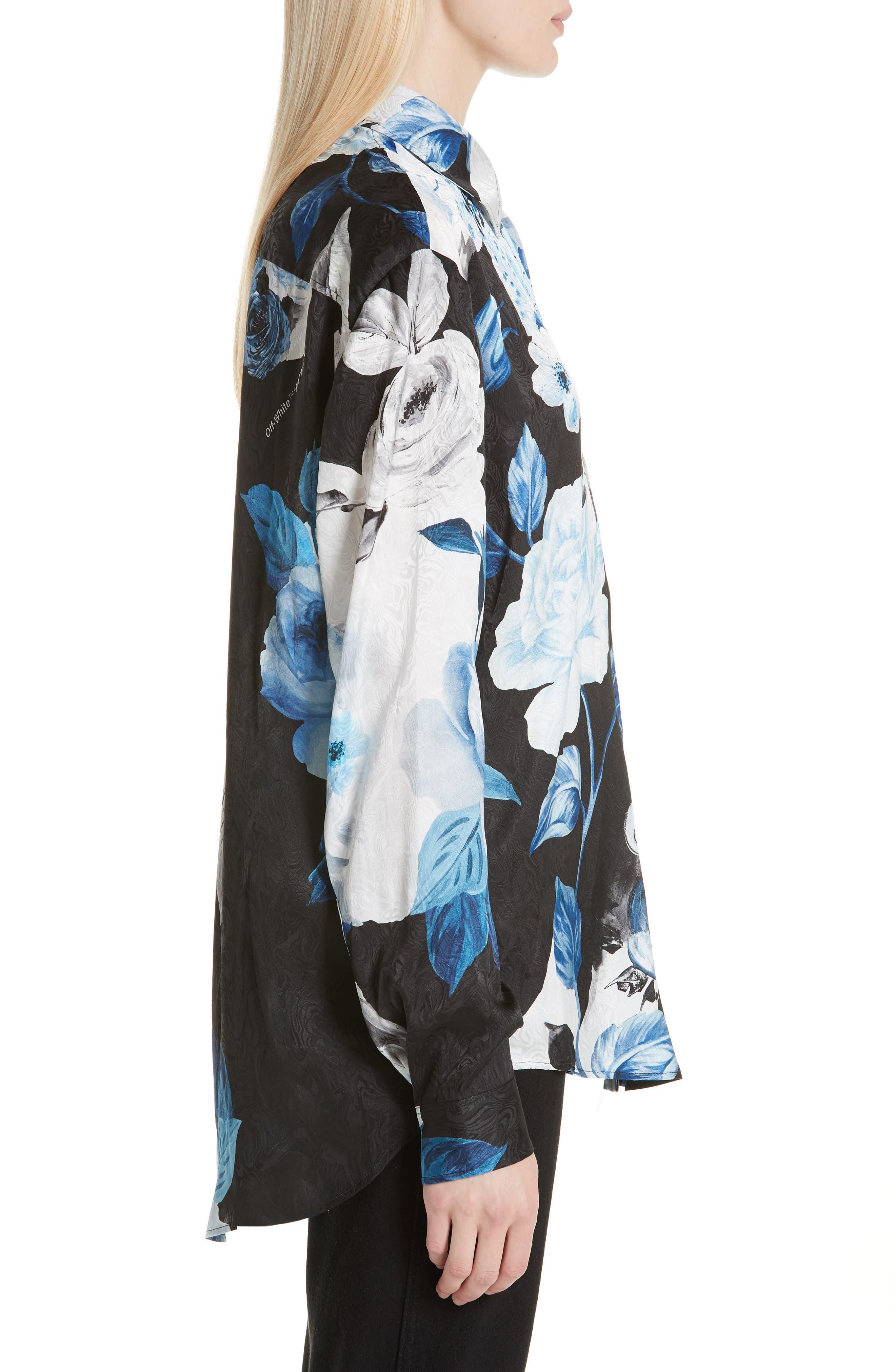 Floral Silk Blouse,                             Alternate thumbnail 3, color,                             001