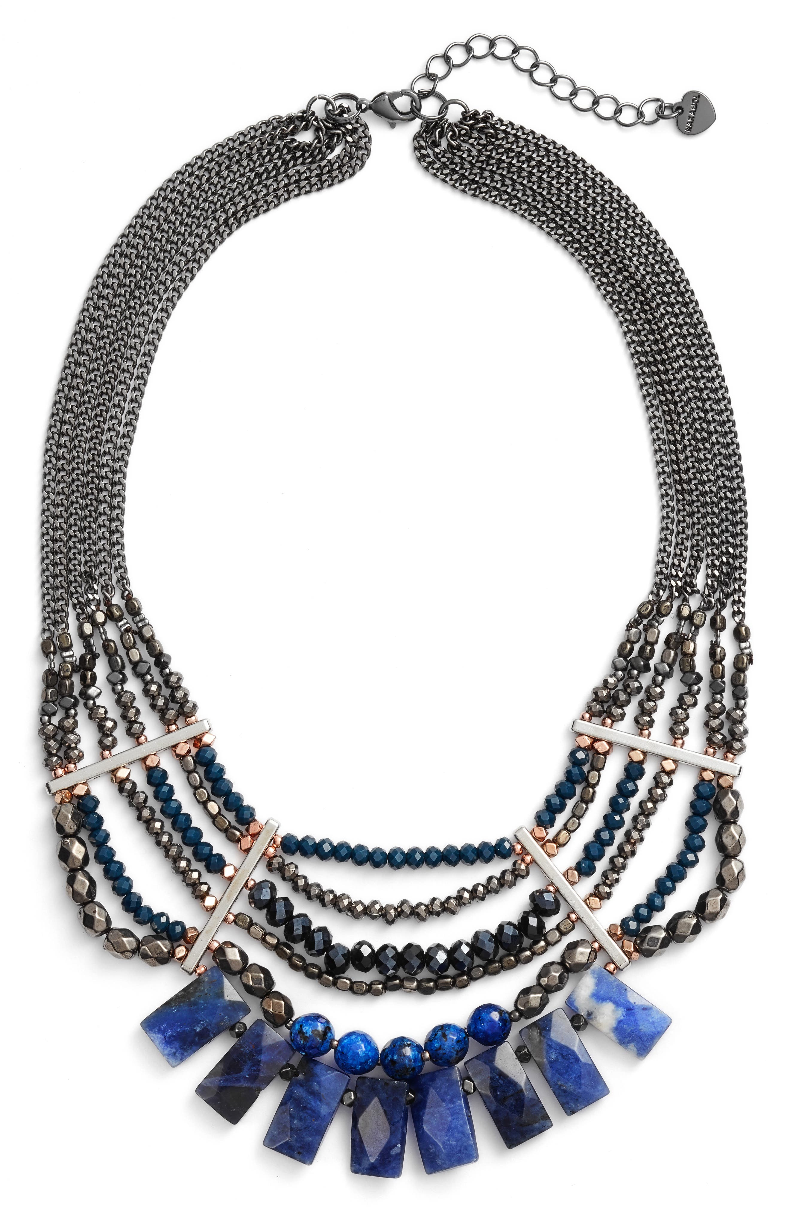 Semiprecious Stone Beaded Fringe Collar Necklace,                         Main,                         color,