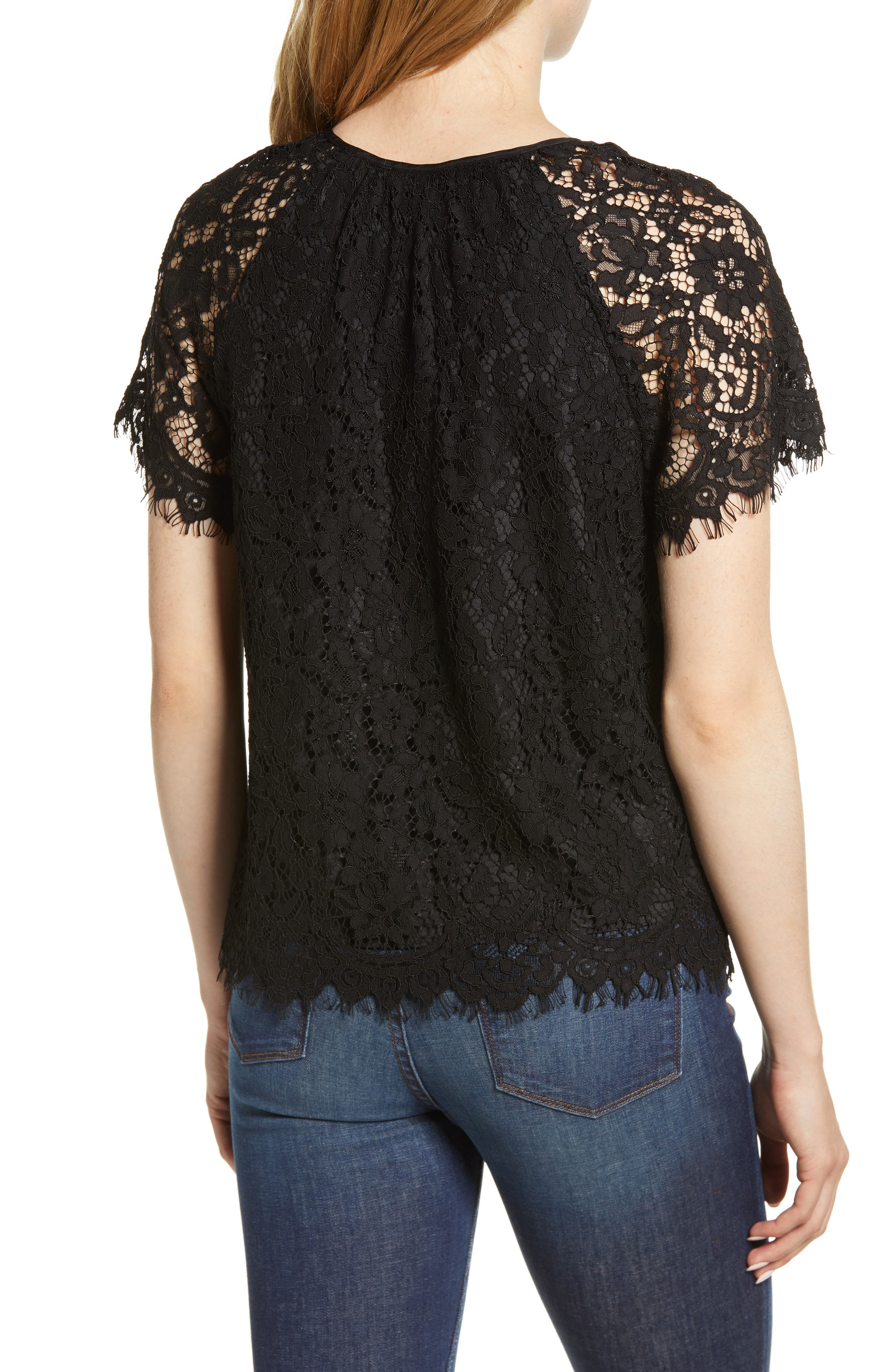 J.CREW,                             Short Sleeve Lace Top,                             Alternate thumbnail 2, color,                             001