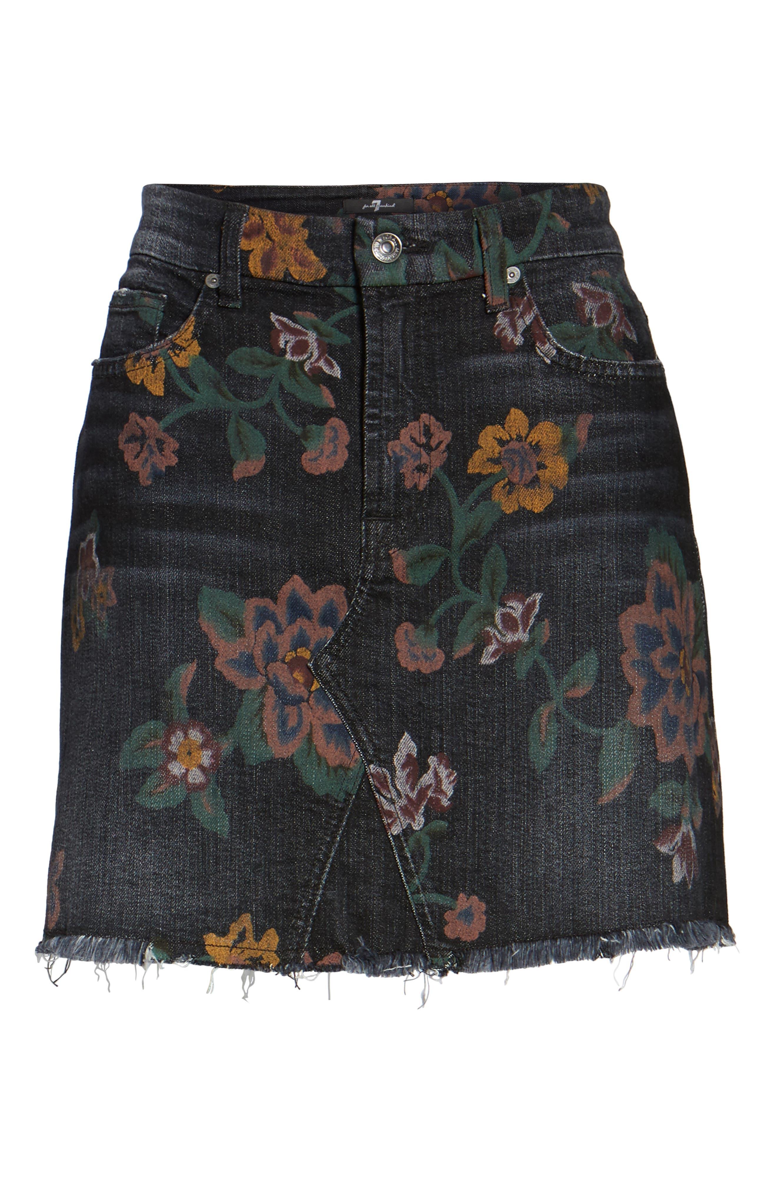 Print Denim Miniskirt,                             Alternate thumbnail 6, color,                             004