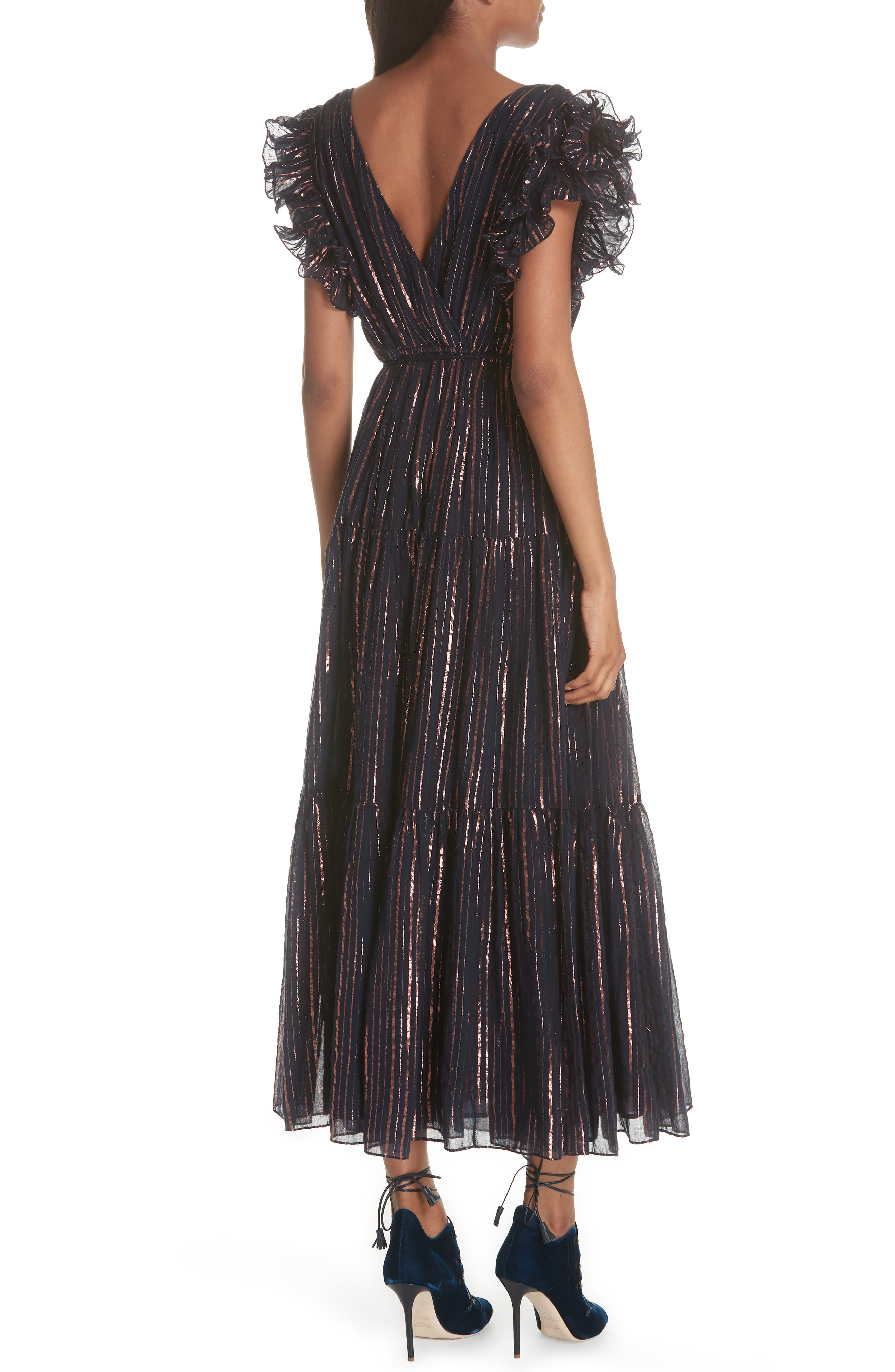 ULLA JOHNSON,                             Liliana Metallic Stripe Dress,                             Alternate thumbnail 2, color,                             400