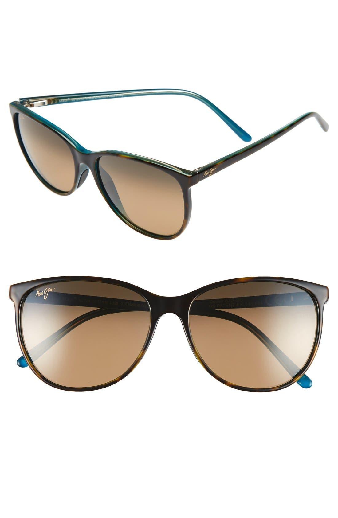 Ocean 57mm PolarizedPlus2<sup>®</sup> Sunglasses,                             Main thumbnail 1, color,                             TORTOISE/ PEACOCK/ HCL BRONZE