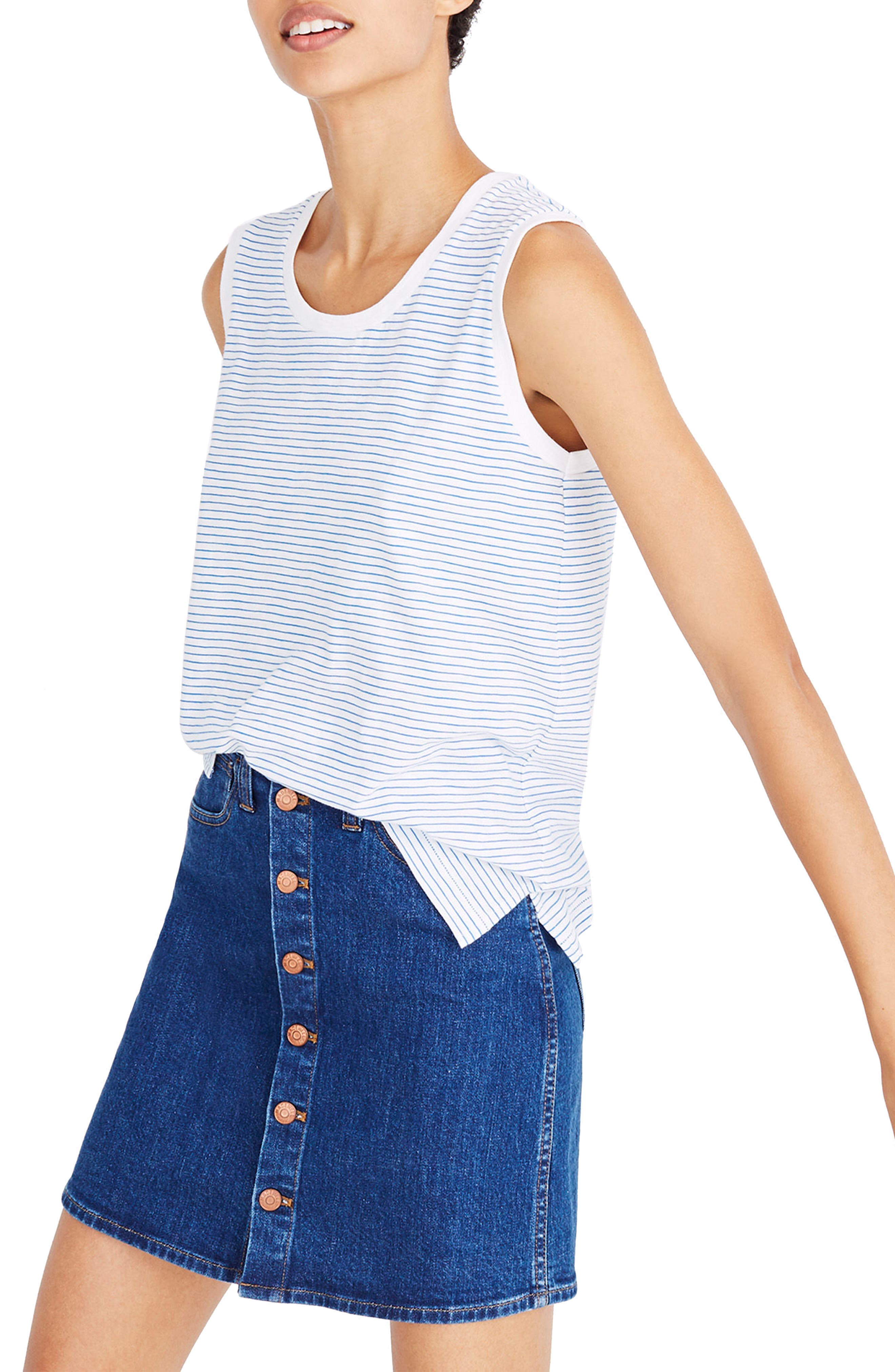 Whisper Cotton Stripe Muscle Tank,                             Main thumbnail 1, color,                             400