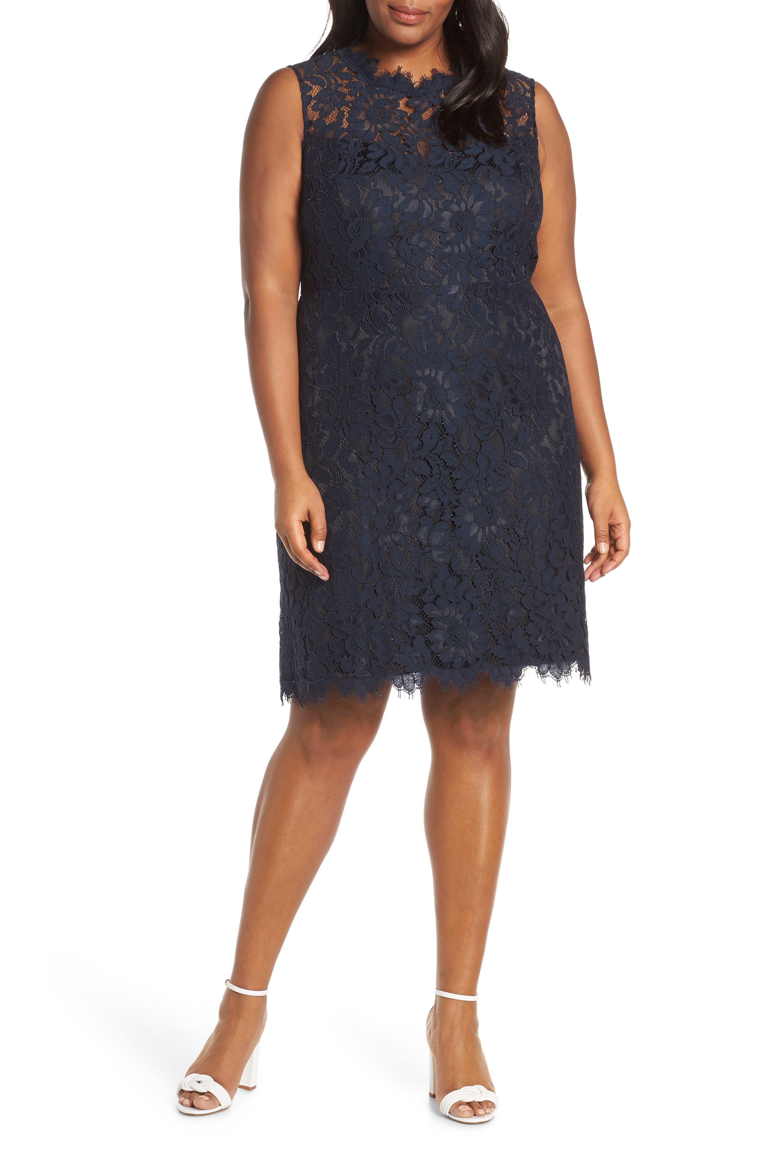 Plus Size Eliza J Lace Sheath Dress, Blue