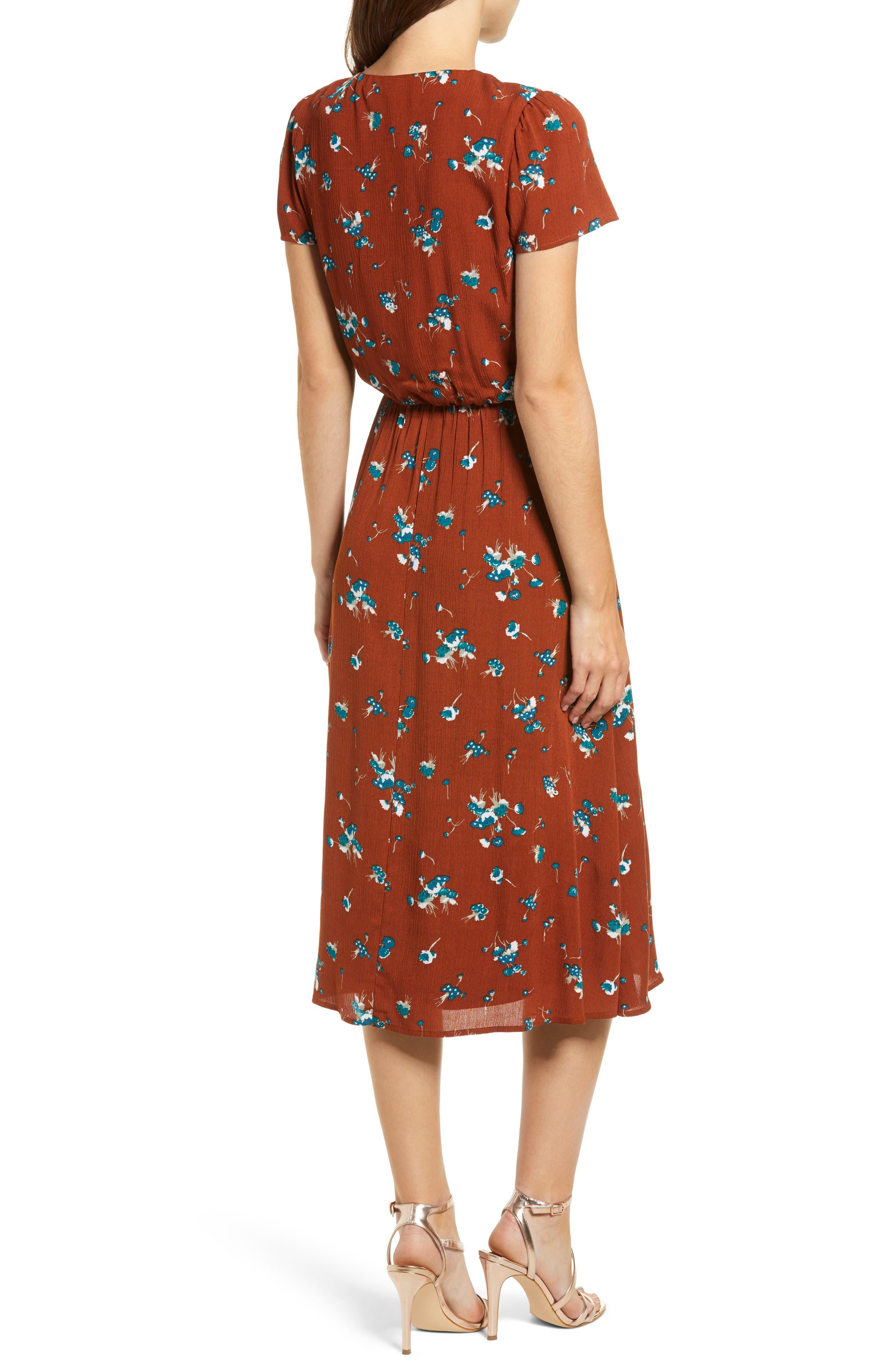 Blouson Midi Dress,                             Alternate thumbnail 2, color,                             BROWN SPICE FLORAL