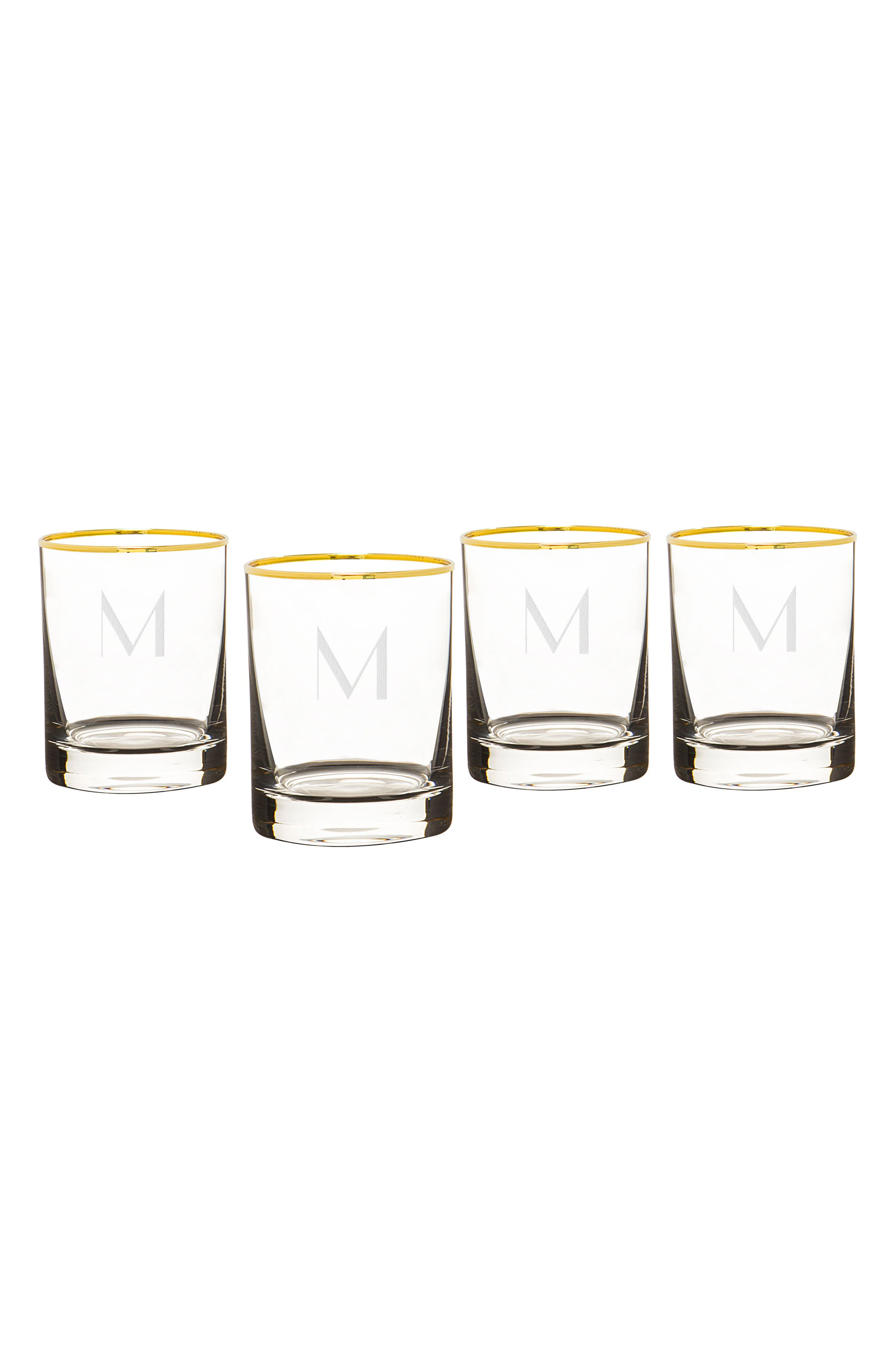 Monogram Set of 4 Double Old Fashioned Glasses,                             Main thumbnail 14, color,