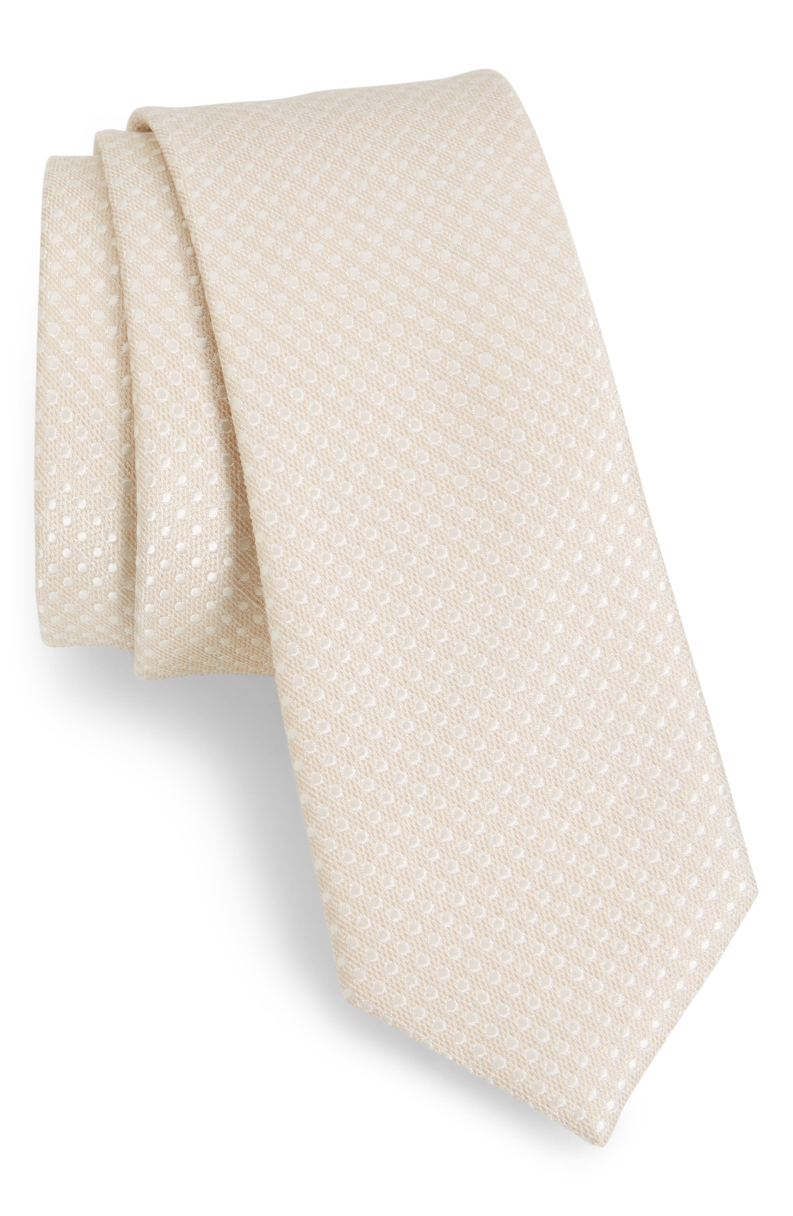 Spin Dot Silk & Cotton Tie,                             Main thumbnail 1, color,                             LIGHT CHAMPAGNE