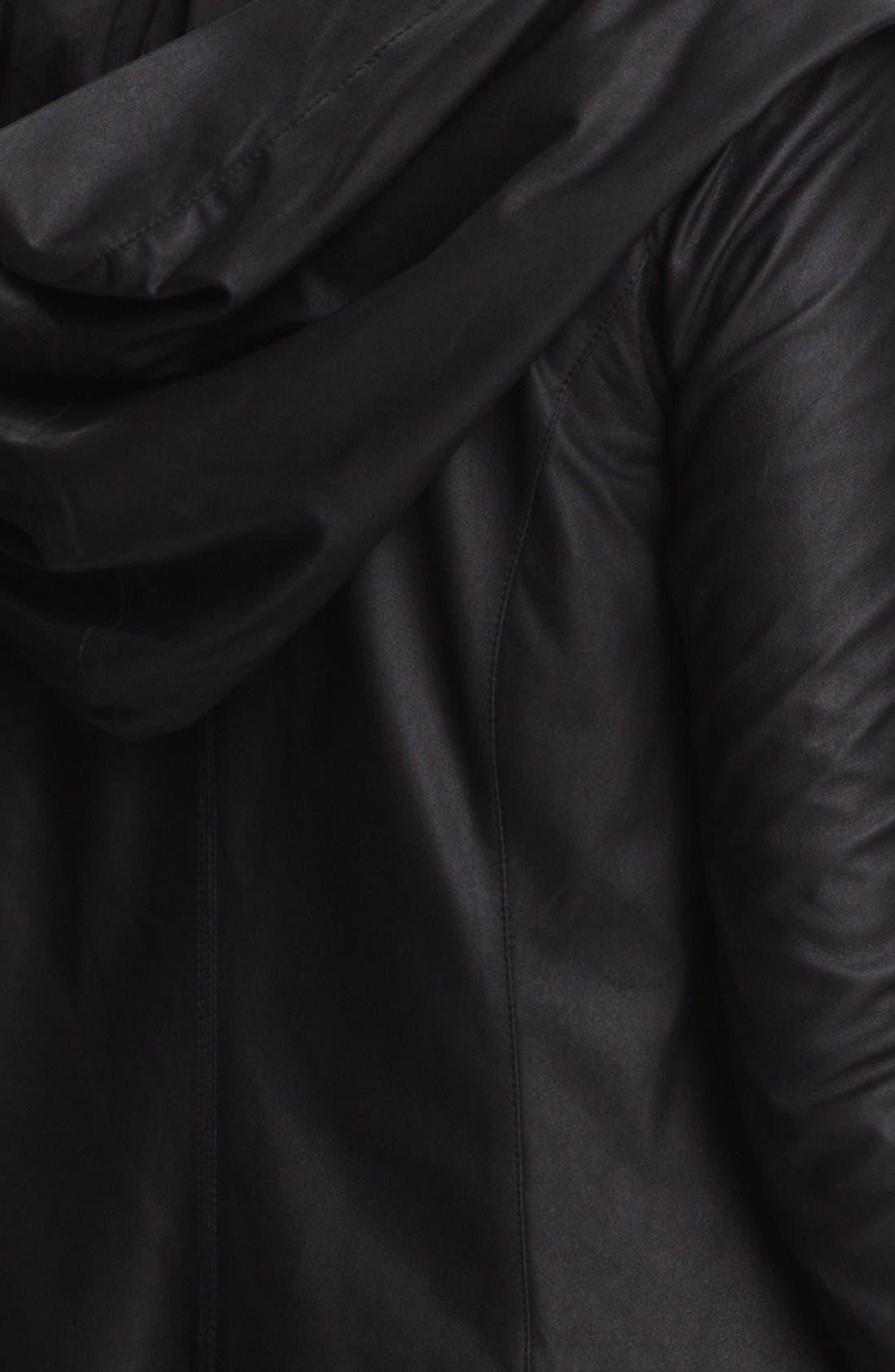 VINCE,                             Hooded Leather Jacket,                             Alternate thumbnail 2, color,                             001