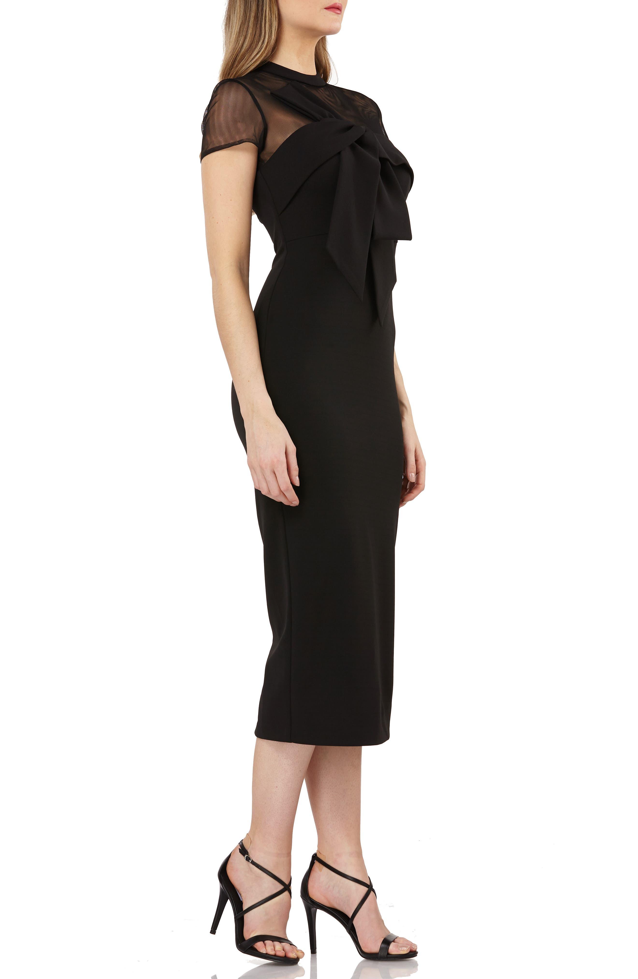 Stretch Crepe Midi Dress,                             Alternate thumbnail 3, color,                             BLACK