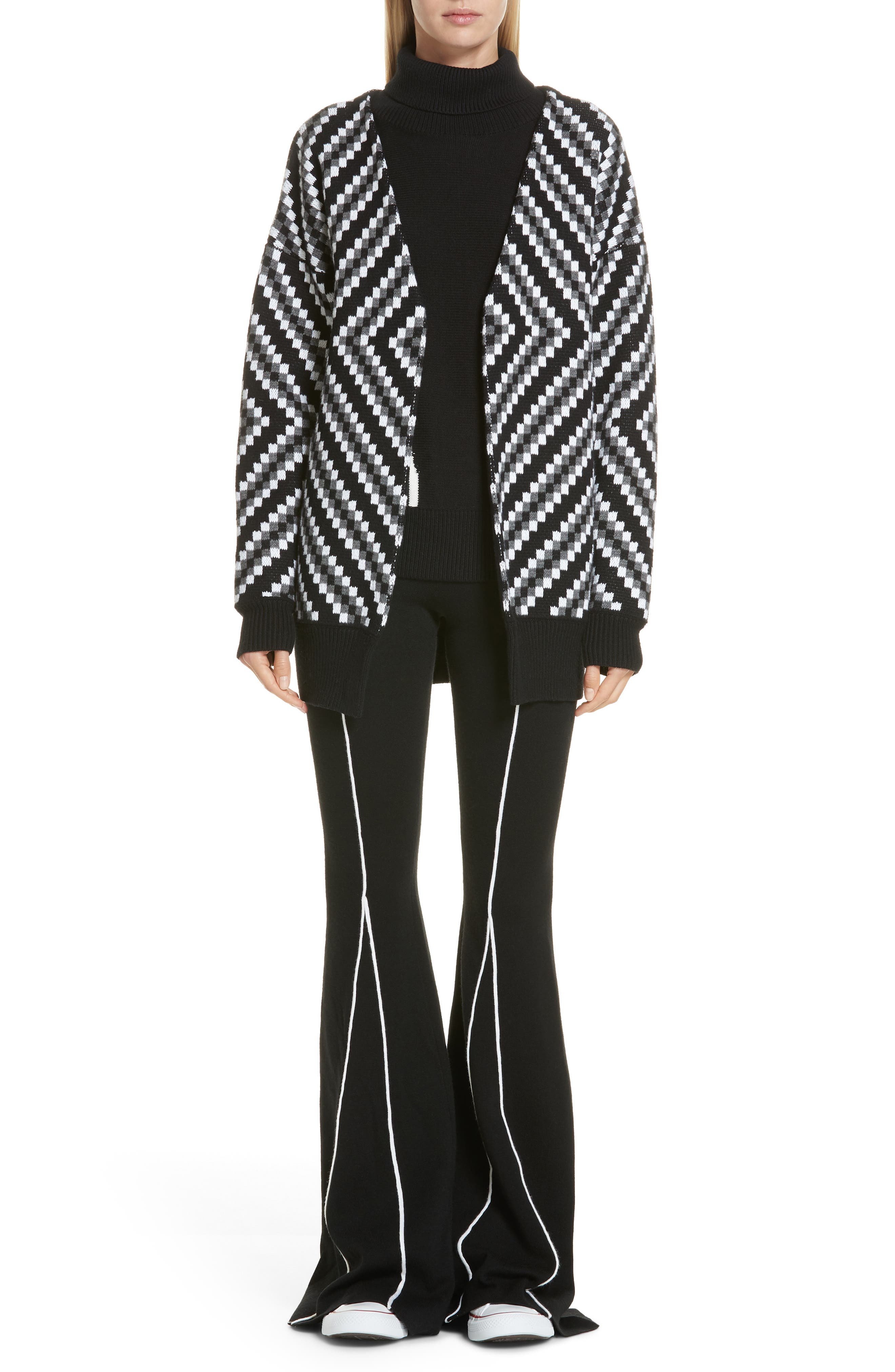 Victor Glemaud Knitted Flare Wool Pants, Black