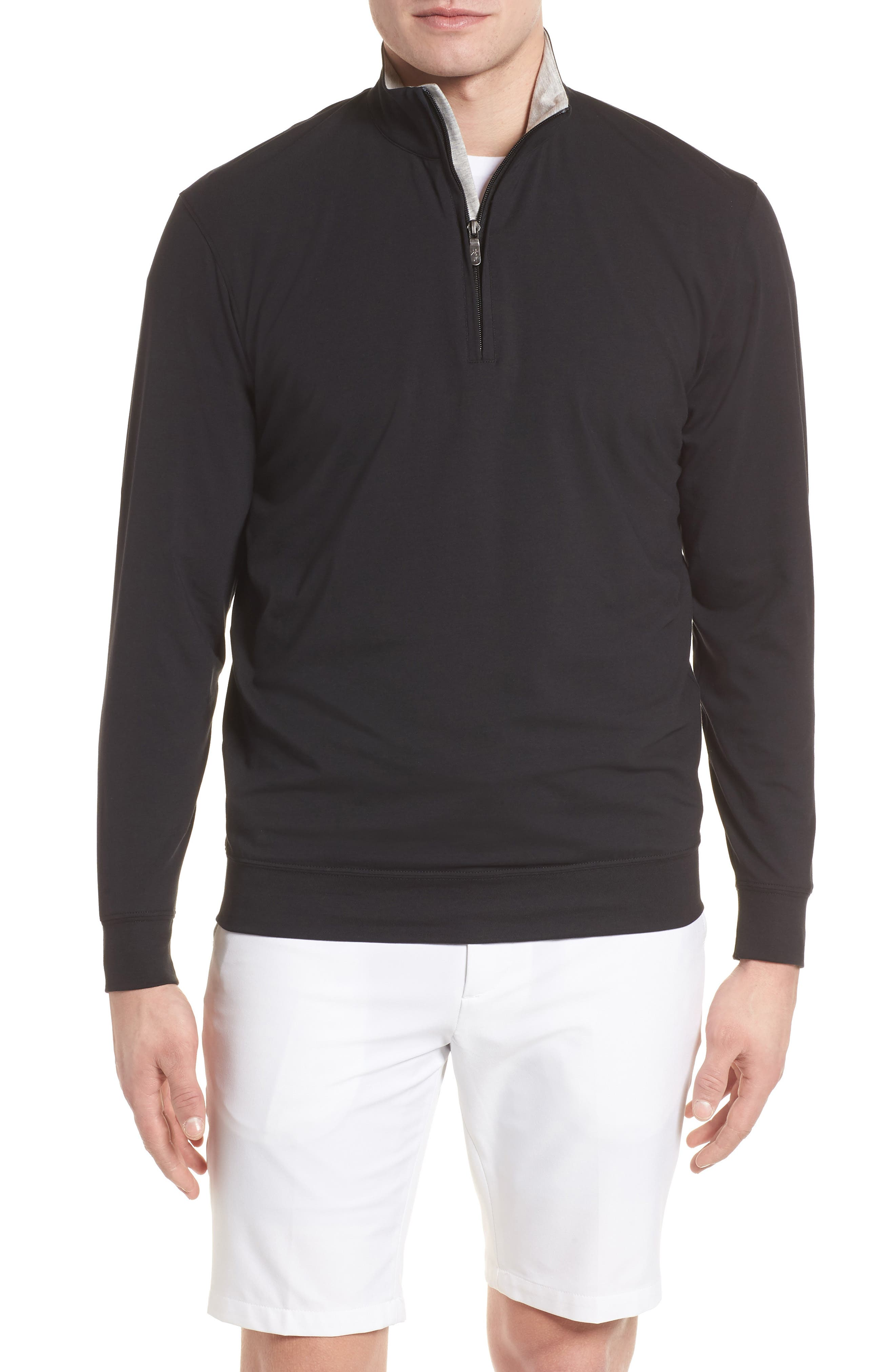 PTO Liquid Stretch Quarter Zip Pullover,                             Main thumbnail 1, color,                             BLACK