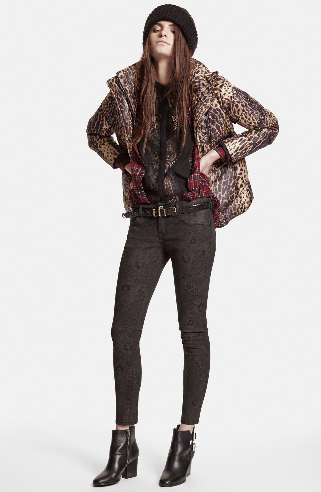 Leopard Print Puffer Jacket,                             Alternate thumbnail 5, color,                             250