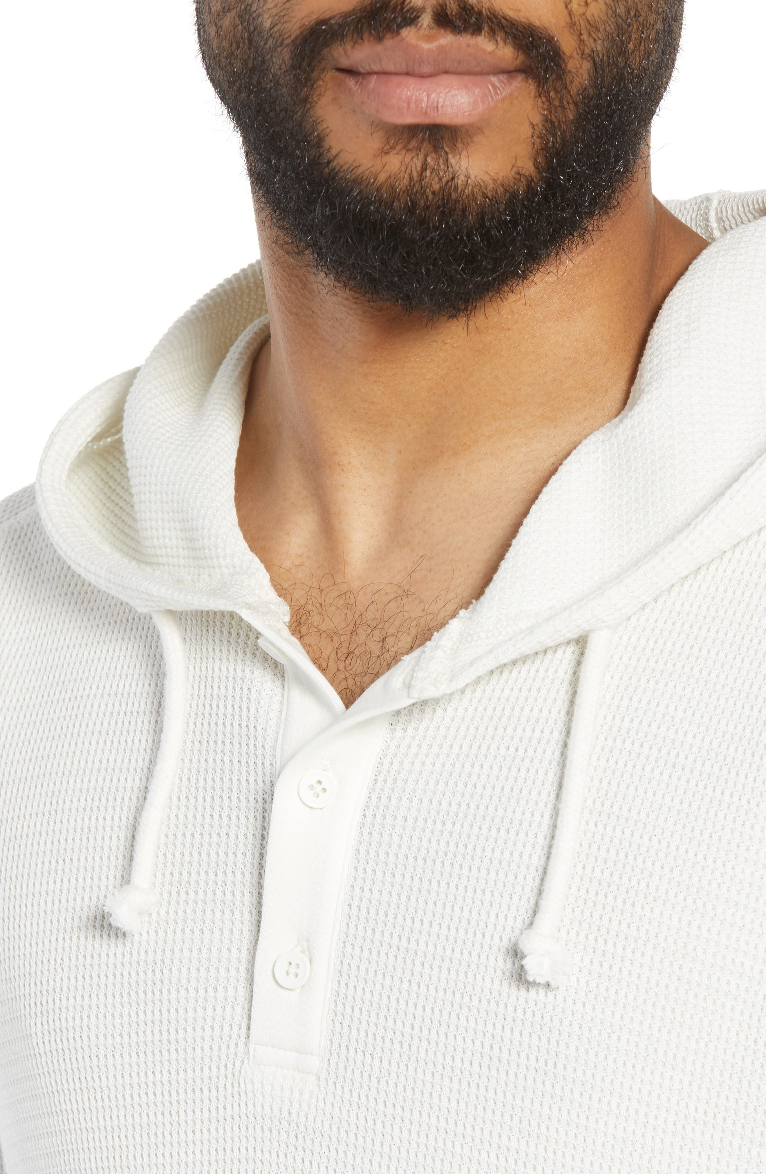 Regular Fit Thermal Knit Pullover Hoodie,                             Alternate thumbnail 4, color,                             110