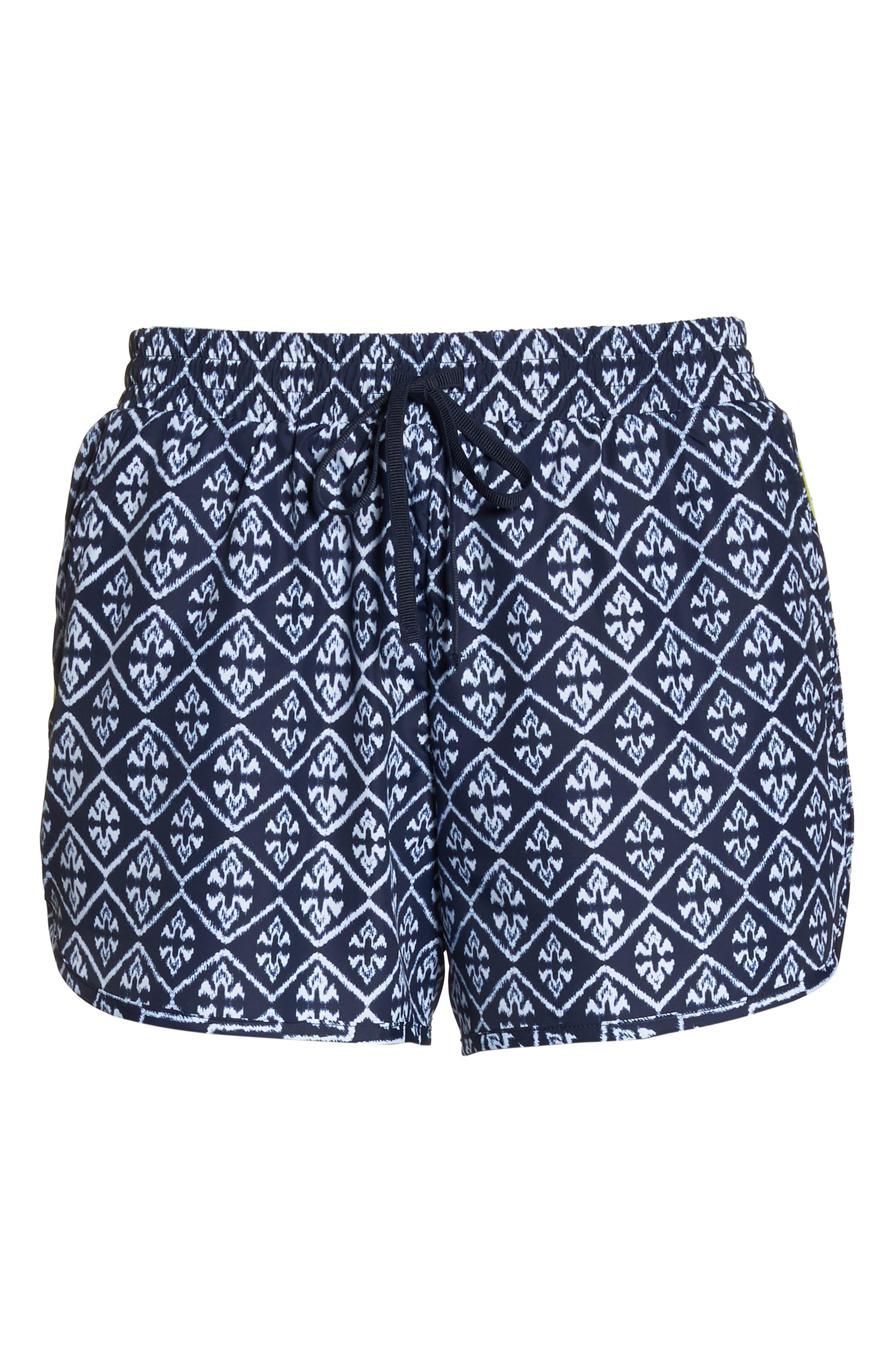 Ikat Neon Running Shorts,                             Alternate thumbnail 7, color,                             INDIGO/ WHITE