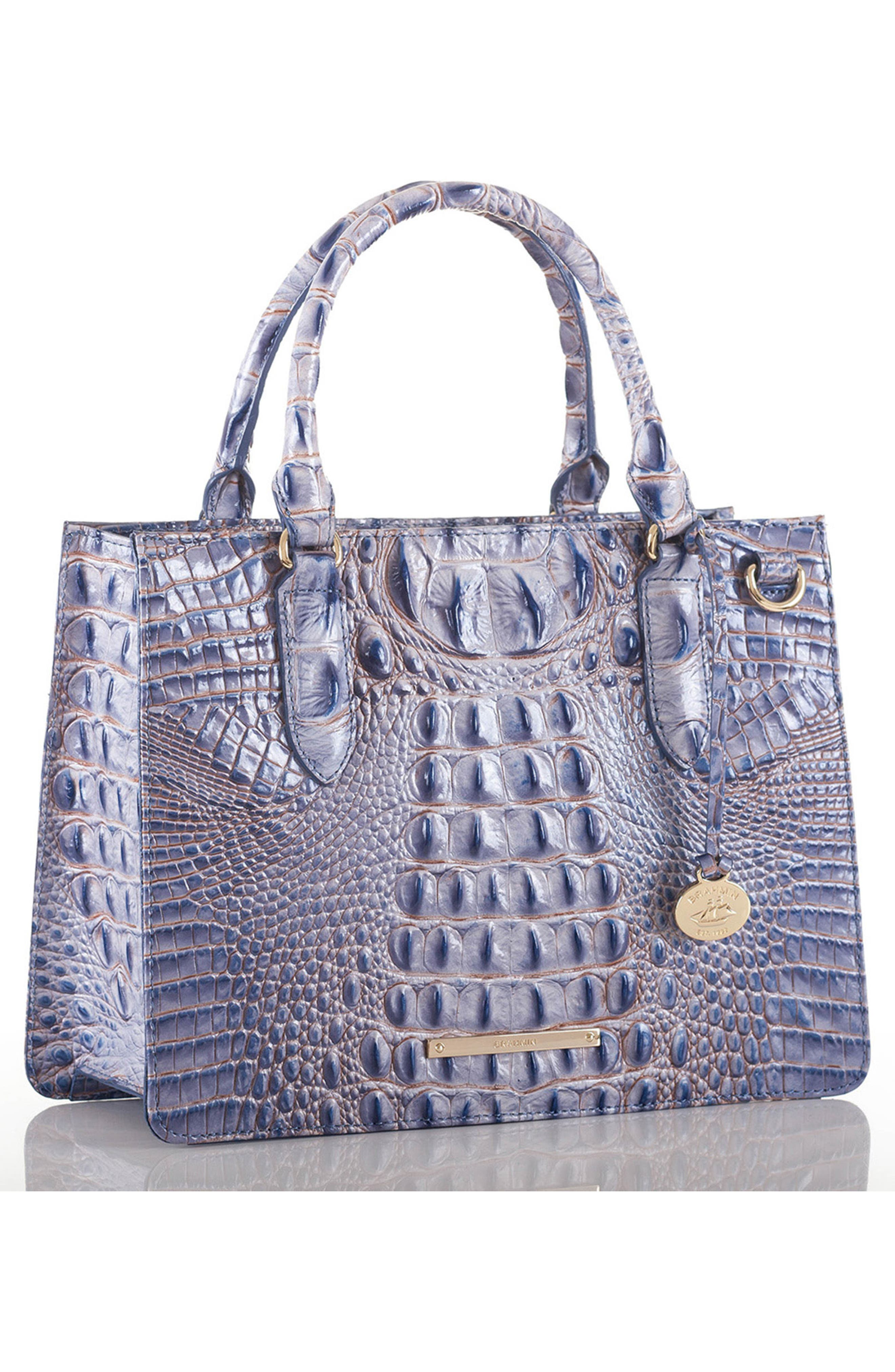 BRAHMIN,                             Small Camille Embossed Leather Satchel,                             Alternate thumbnail 4, color,                             437