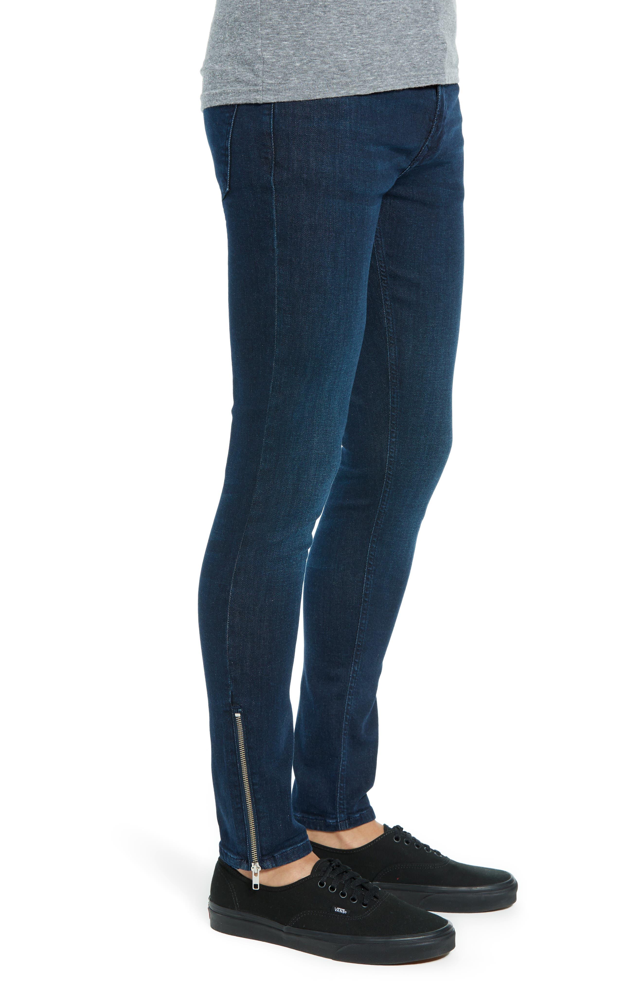 Zip Hem Spray-On Skinny Jeans,                             Alternate thumbnail 3, color,                             BLUE