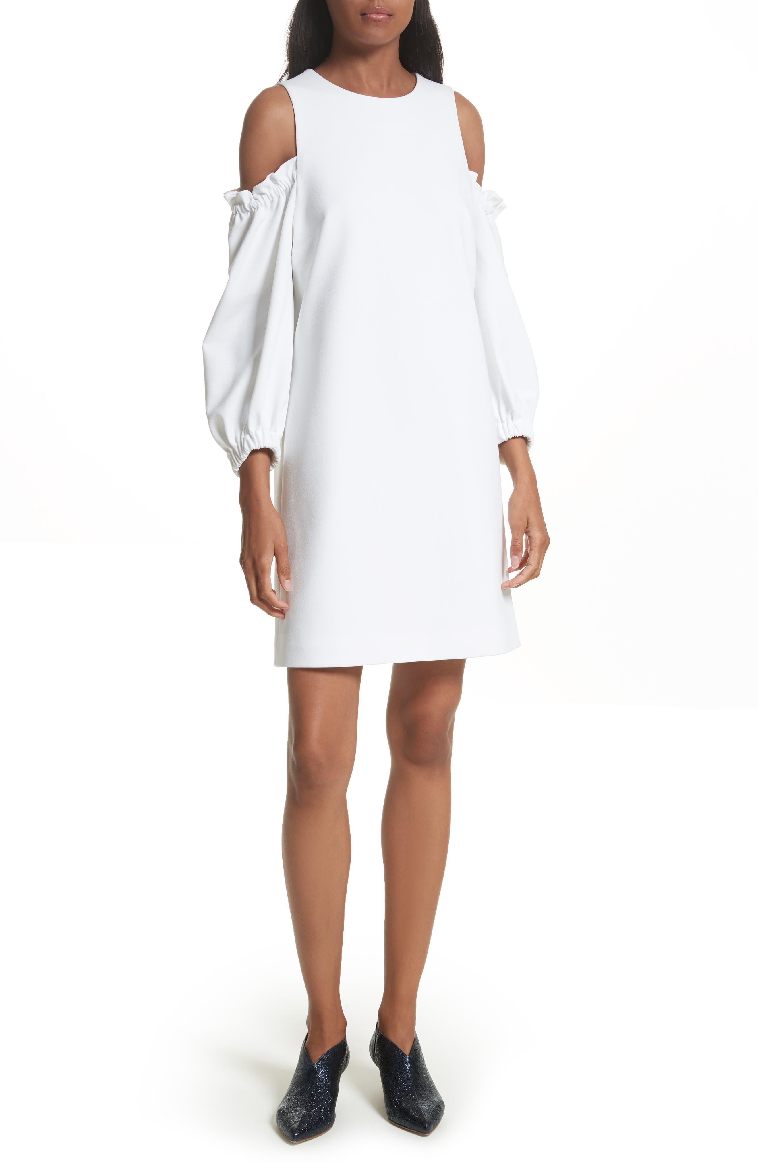 Crepe Cold Shoulder Shift Dress,                         Main,                         color, 100