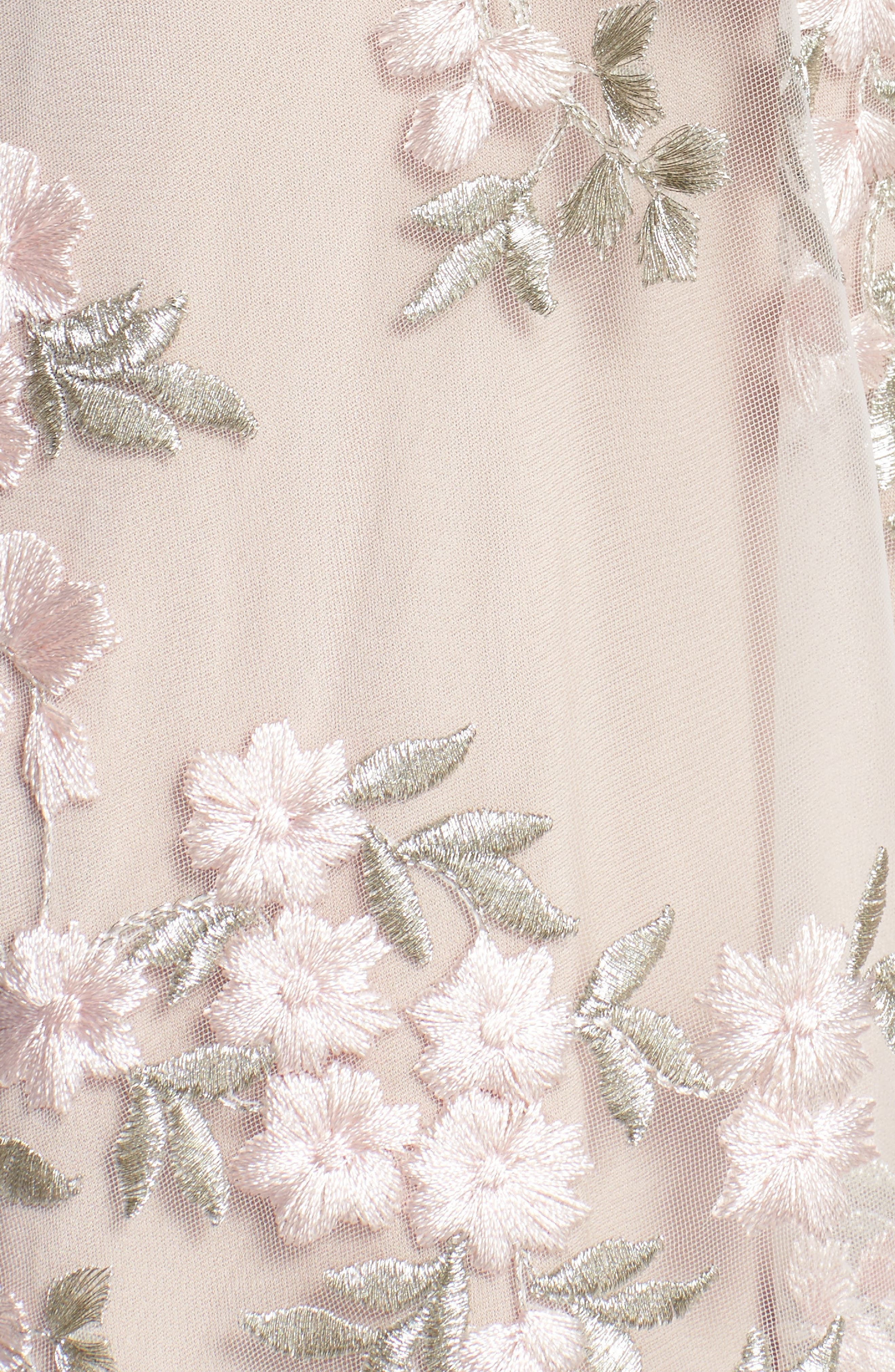 Rosalie Embroidered Midi Dress,                             Alternate thumbnail 5, color,                             IVORY/ PINK