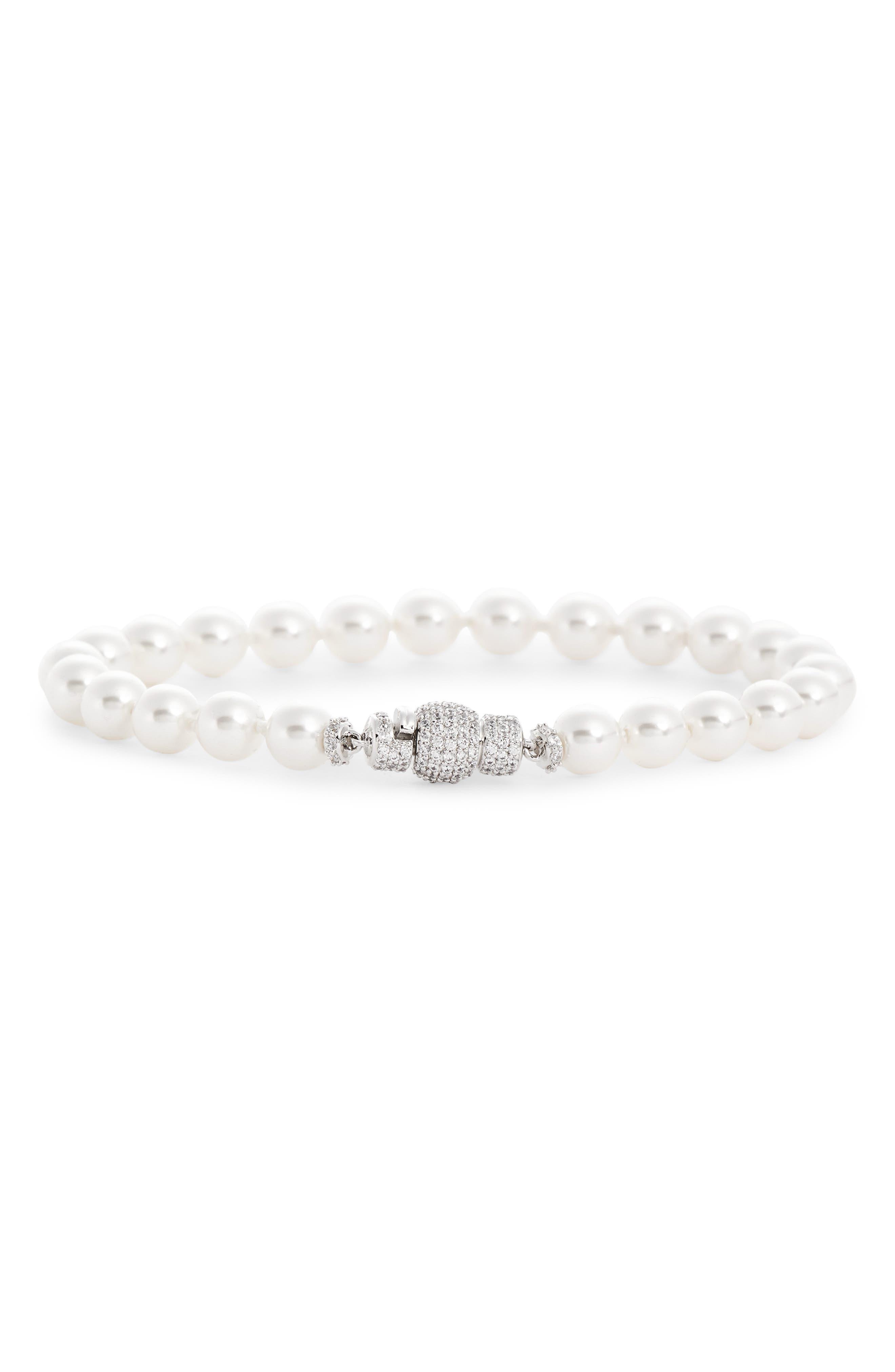 NADRI Pearl & Pave Bracelet in White