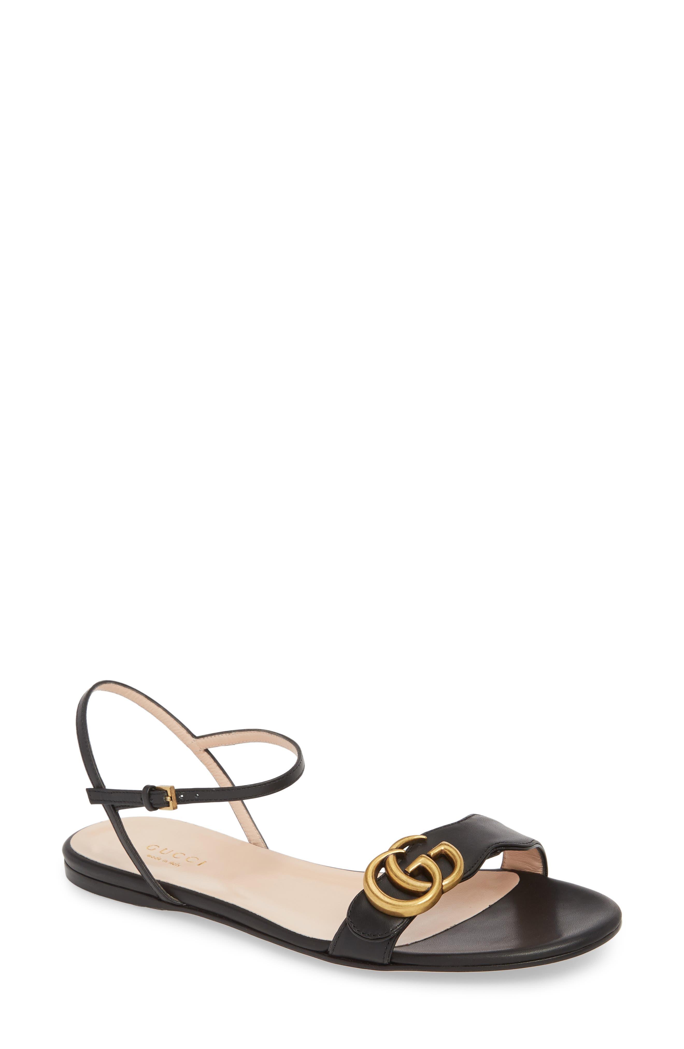 Quarter Strap Flat Sandal,                             Main thumbnail 1, color,                             BLACK