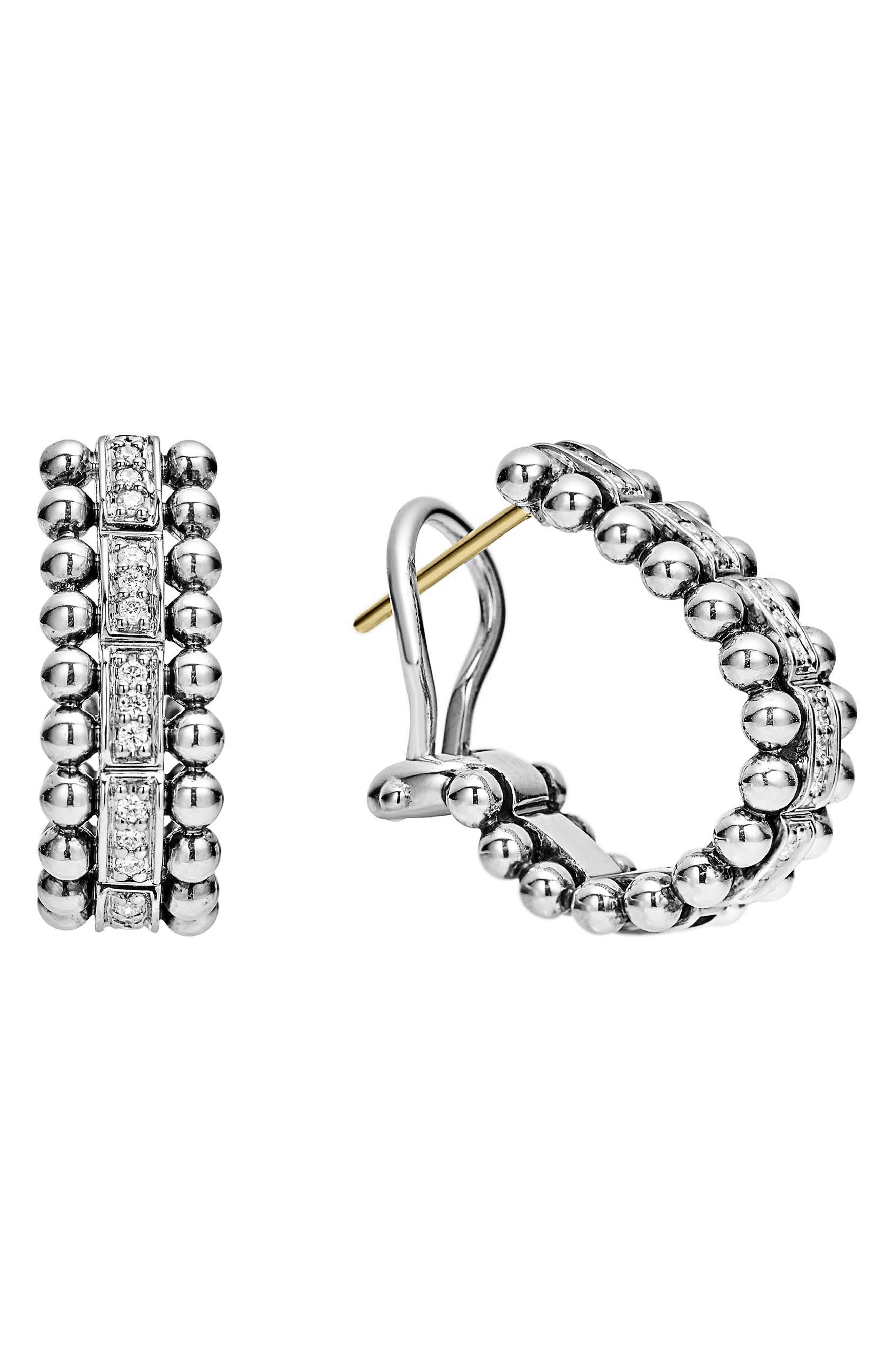 Caviar Spark Diamond Oval Hoop Earrings,                             Main thumbnail 1, color,                             SILVER/ DIAMOND
