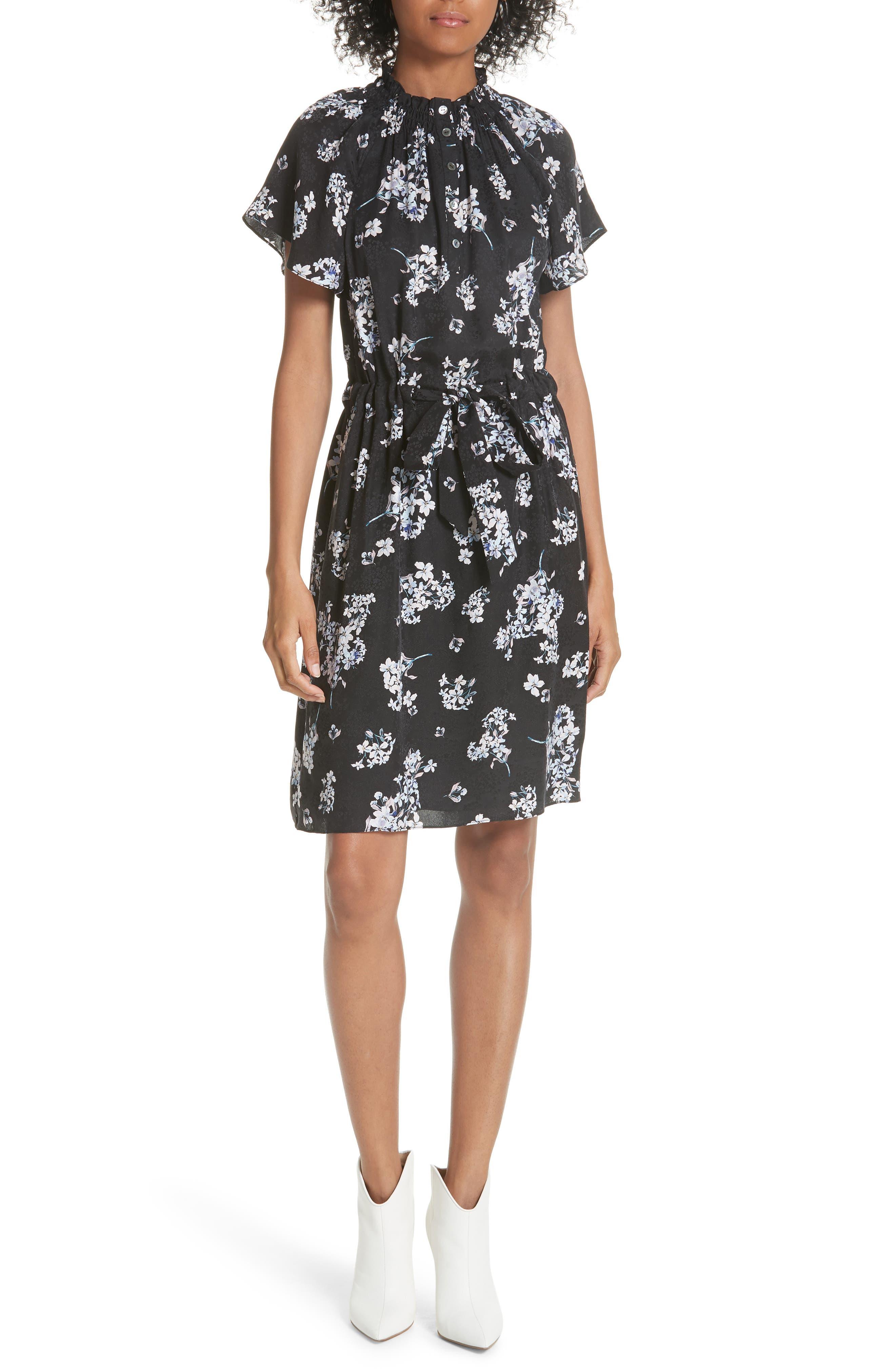 Hydrangea Silk Dress,                         Main,                         color, 014