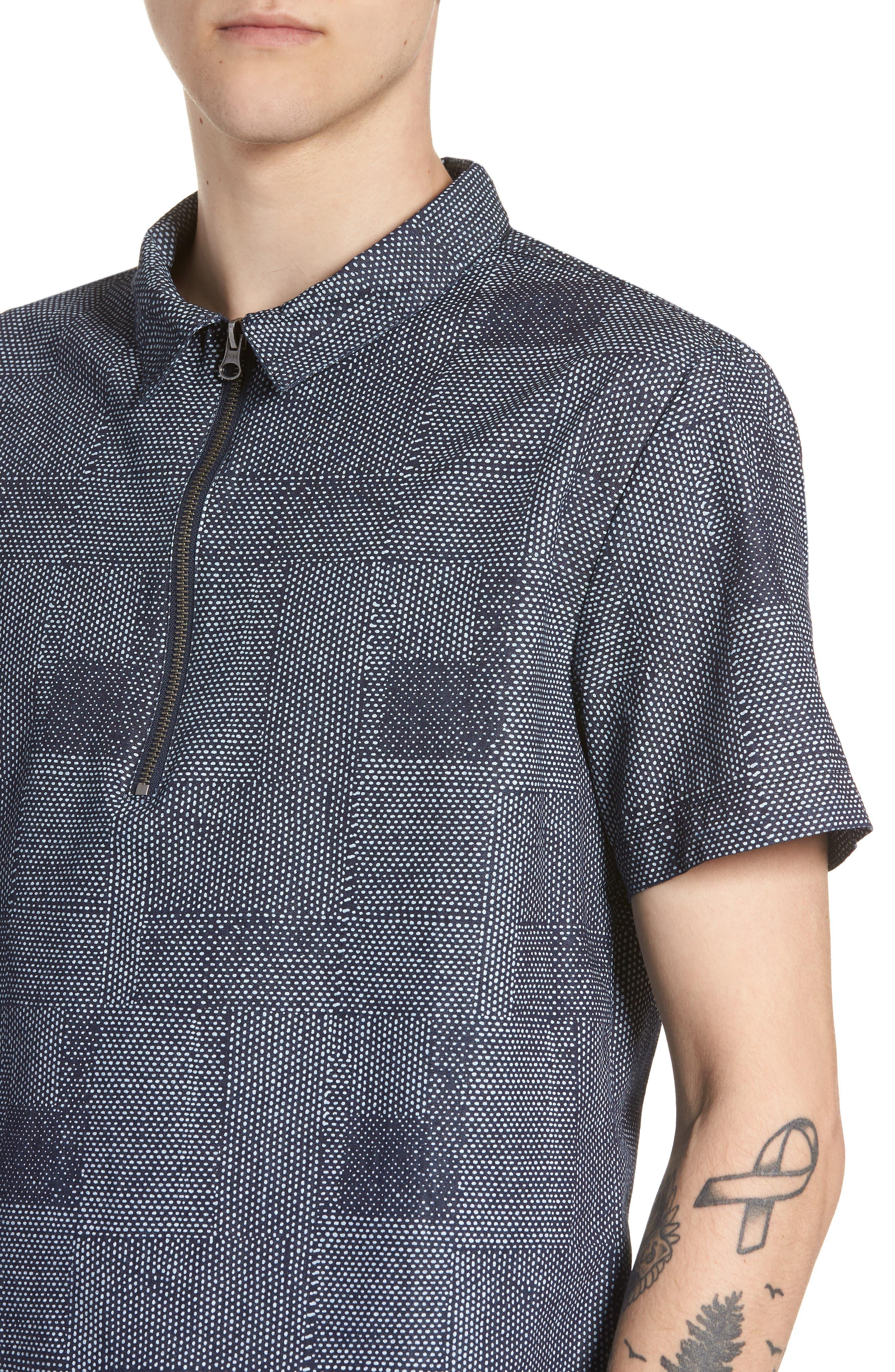 Dotpatch Woven Shirt,                             Alternate thumbnail 4, color,                             INDIGO