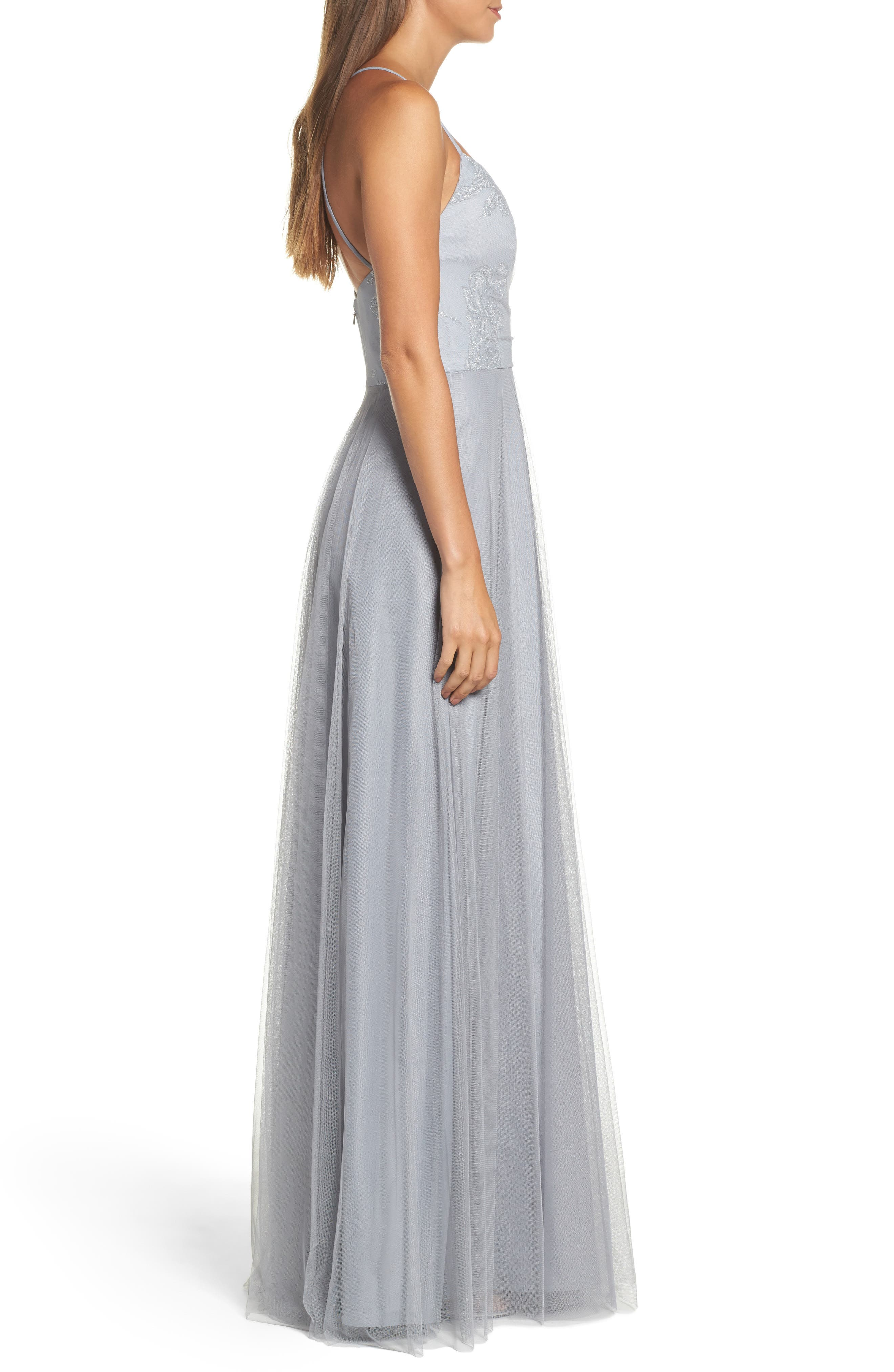 Embellished Bodice Net Halter Gown,                             Alternate thumbnail 3, color,                             PEWTER
