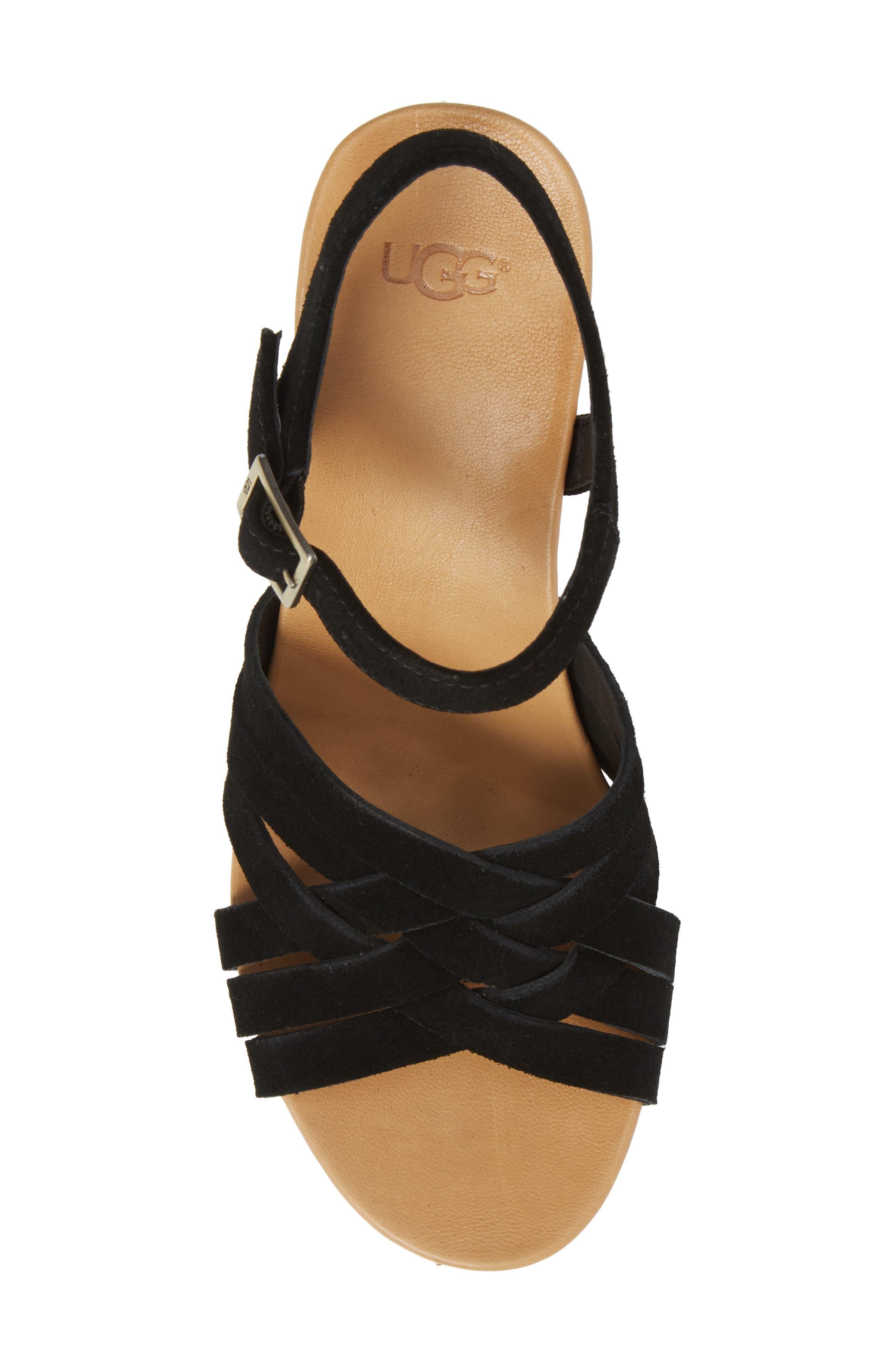 Uma Wedge Sandal,                             Alternate thumbnail 5, color,                             BLACK SUEDE