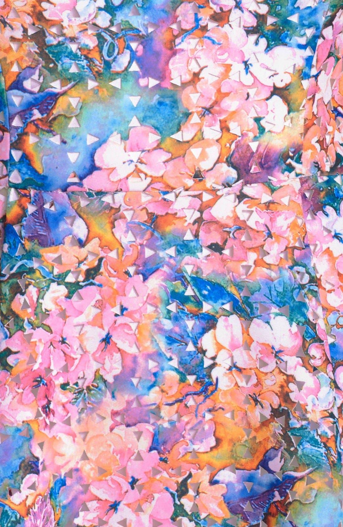 BETSEY JOHNSON,                             Laser Cut Floral Print Scuba Fit & Flare Dress,                             Alternate thumbnail 3, color,                             650
